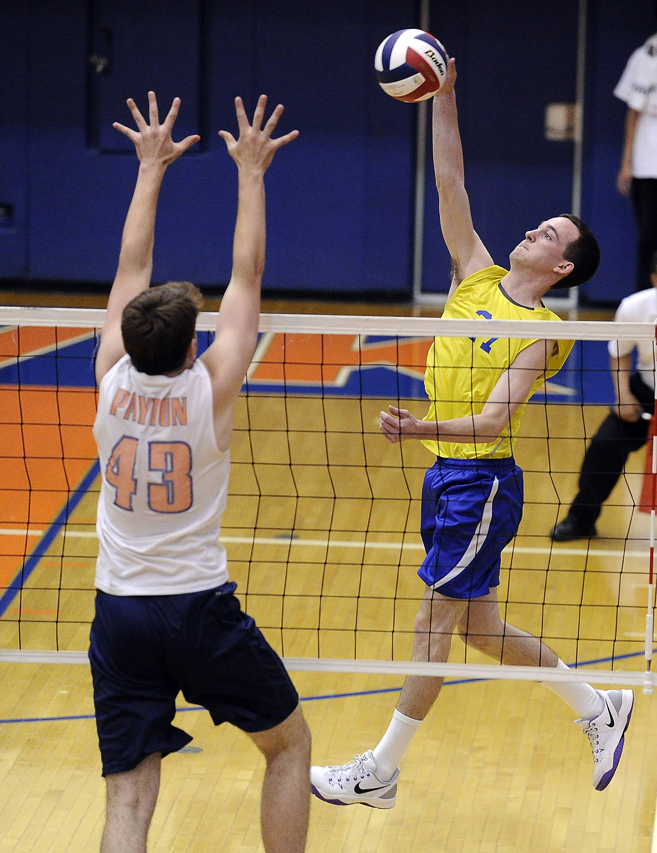 Warren's Bryant Holland slams one back to Payton's Max Donovan in set one of their boys volleyball state quarterfinal matchup at Hoffman Estates High School on Friday.
