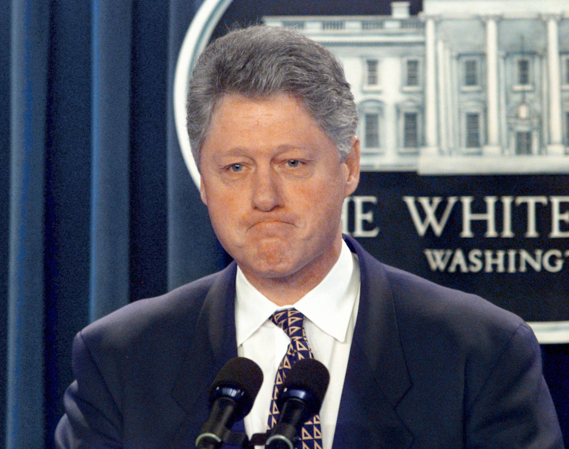 President Bill Clinton meets reporters in the briefing room of the White House in Washington.