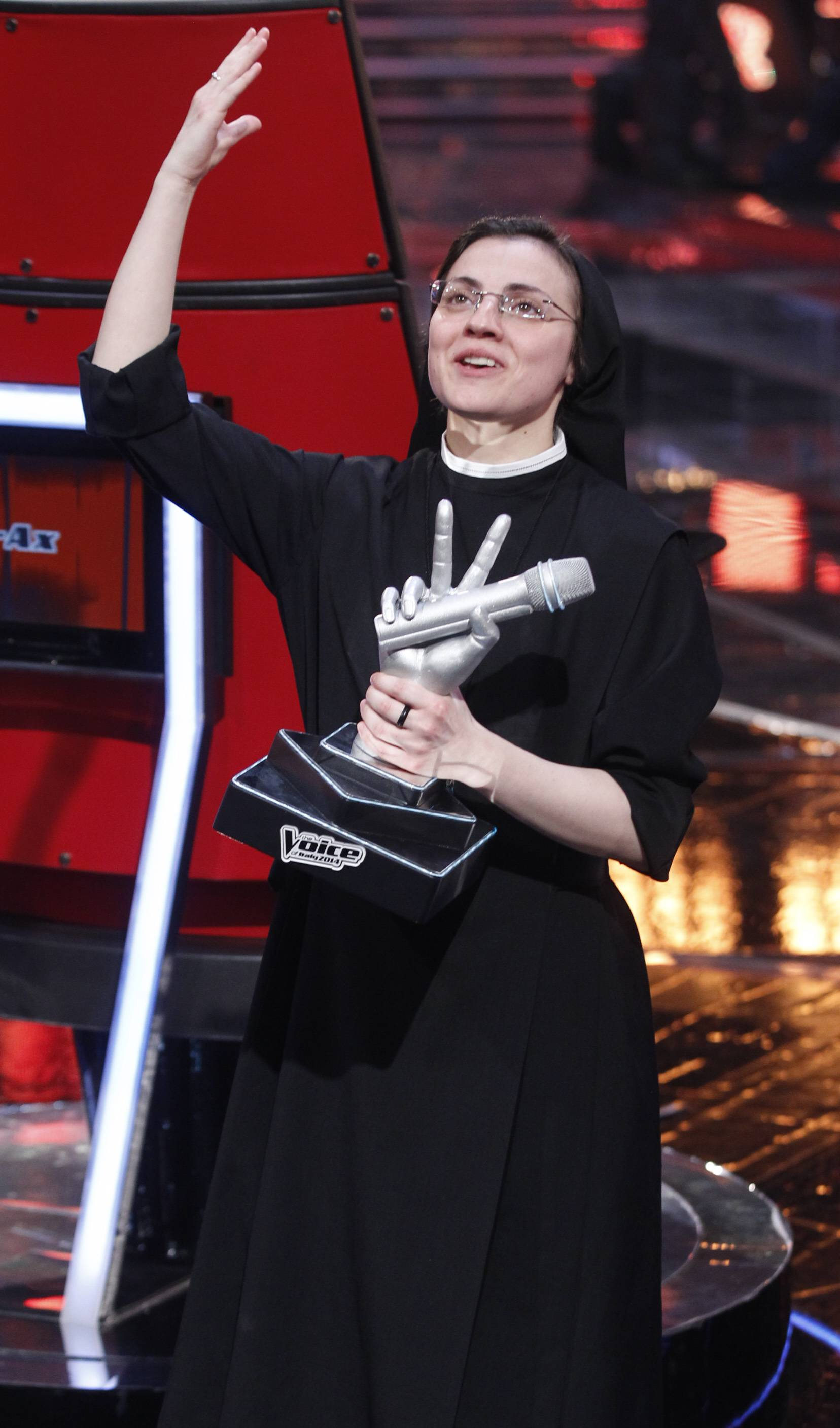 "Sister Cristina Scuccia won the final of the Italian version of the TV talent show ""The Voice"" in Milan, Italy, Thursday. With her full habit, sensible shoes and cheering nuns in her camp, Sister Cristina Scuccia made it to Thursday's finals after capturing attention, and millions of YouTube viewers, with her first-round performance in March."