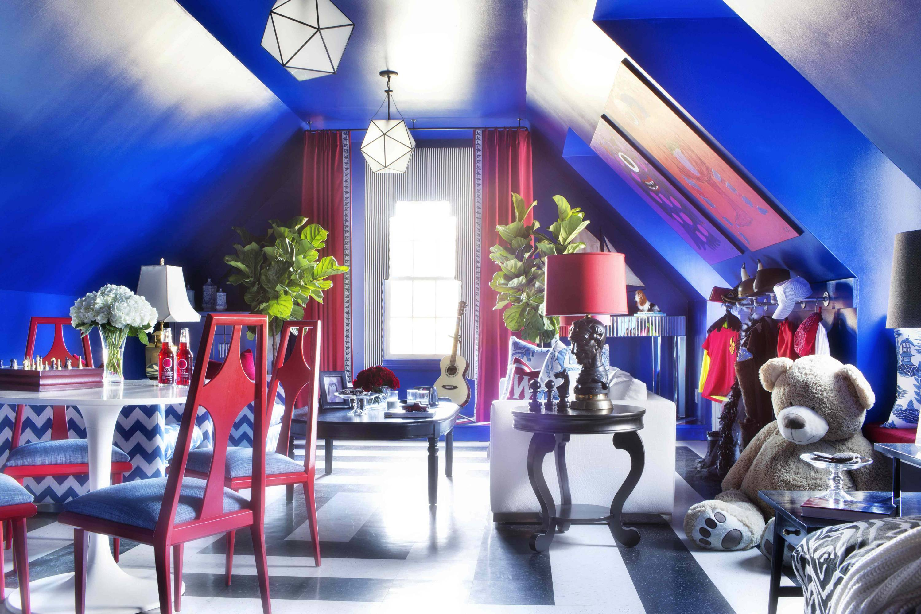 Klein Blue, also referred to as electric blue or midnight blue was used in this playroom designed by Brian Patrick Flynn. The designer suggests pairing the highly dramatic color with other bold hues like red, and keeping it all balanced with white or black.