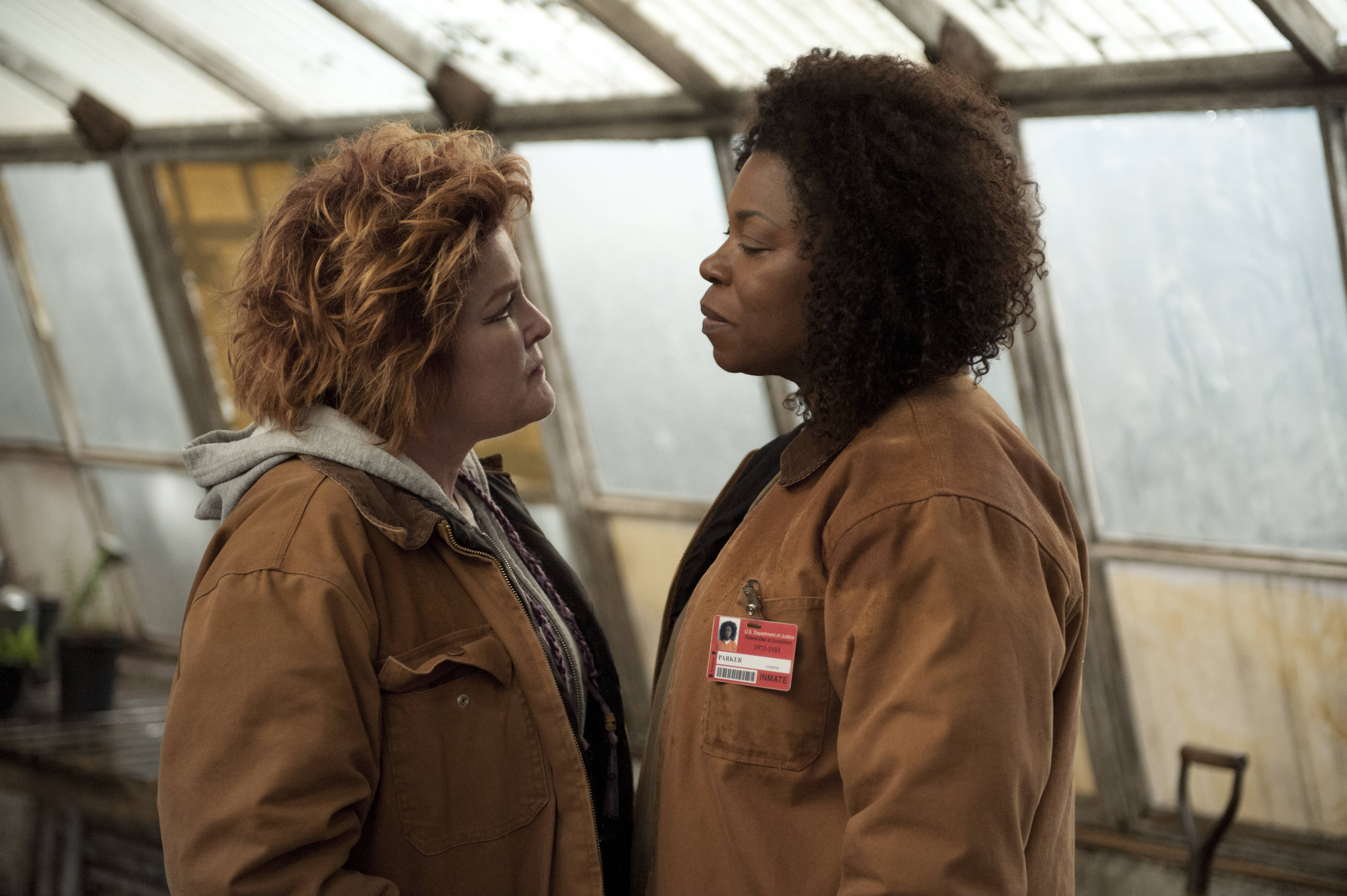 "A tough-as-nails former mobster (Kate Mulgrew), left, and former drug dealer (Lorraine Toussaint) are among the inmates in ""Orange is the New Black."" The second season of the prison series will be available Friday on Netflix."