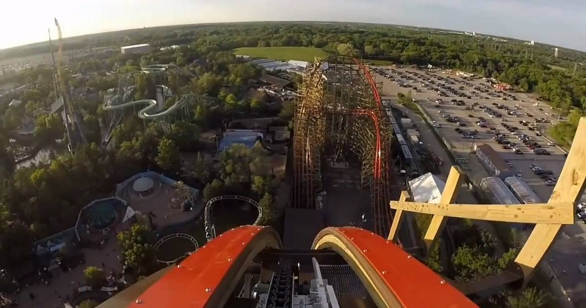 A front-car view of the new Goliath roller coaster
