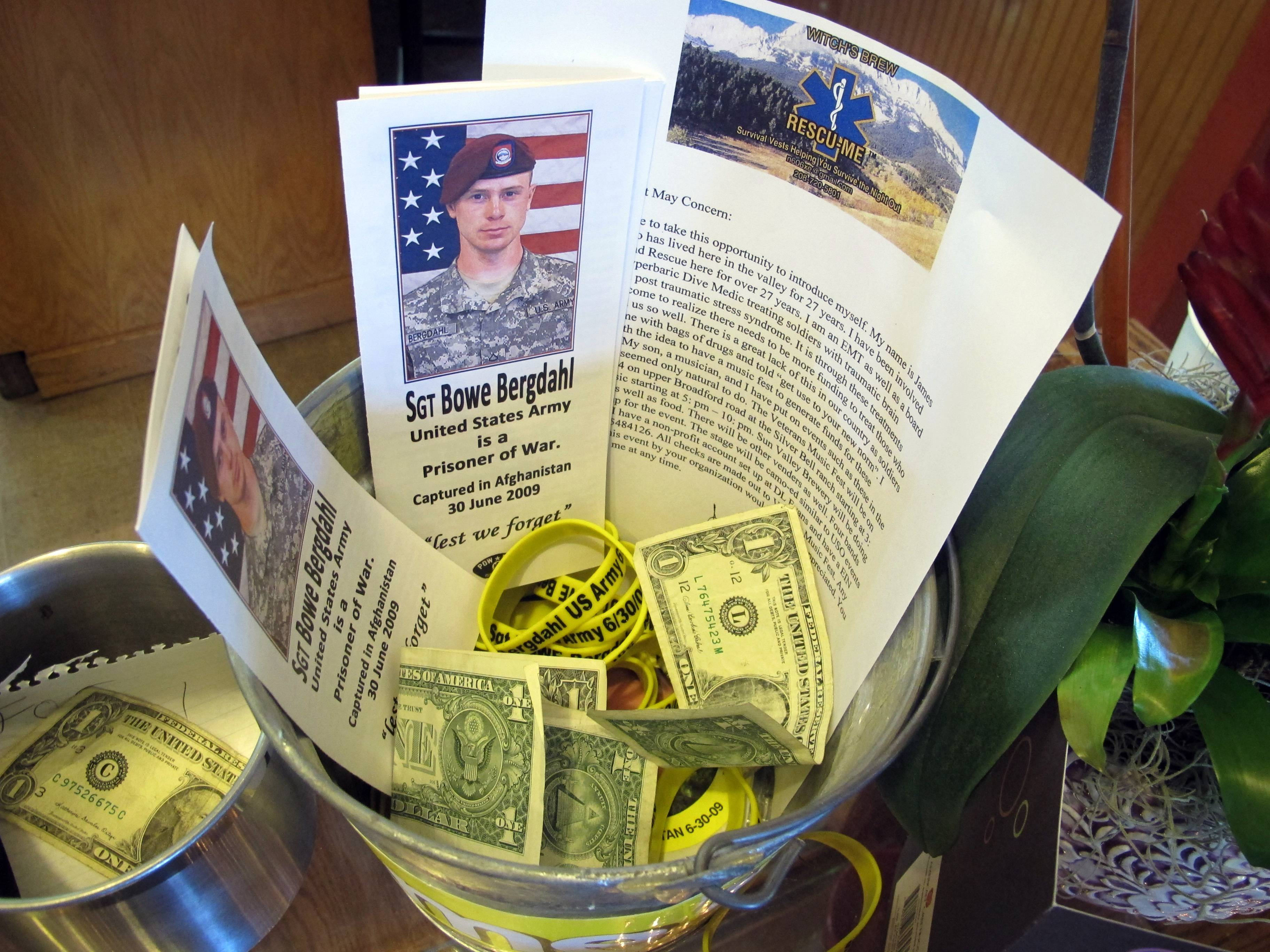 A donation bucket for the family of Bowe Bergdahl sits on the counter in Zaney's Coffee Shop in downtown Hailey, Idaho, Thursday, June 5, 2014.