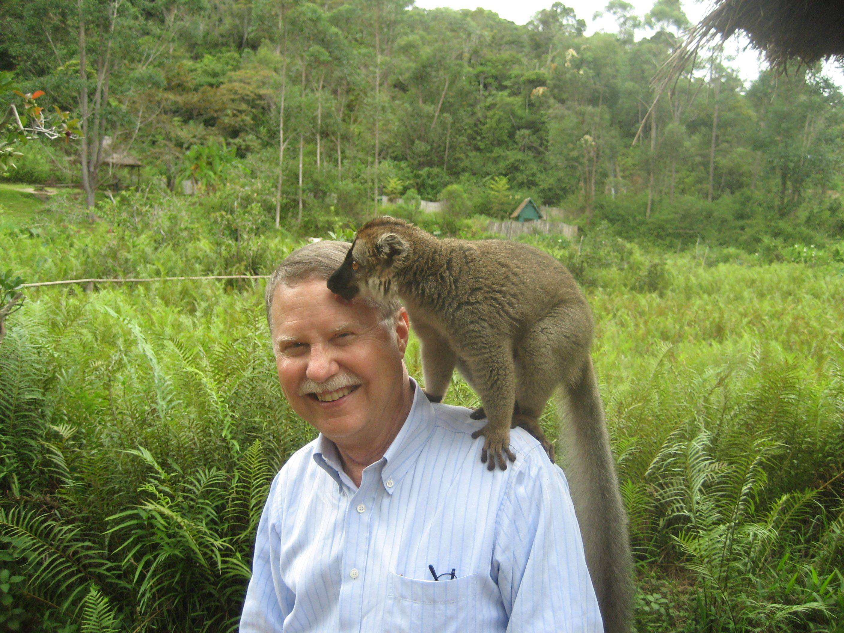 Don Parrish of Downers Grove with a lemur at the Vakona Lodge, in Madagascar in 2009.