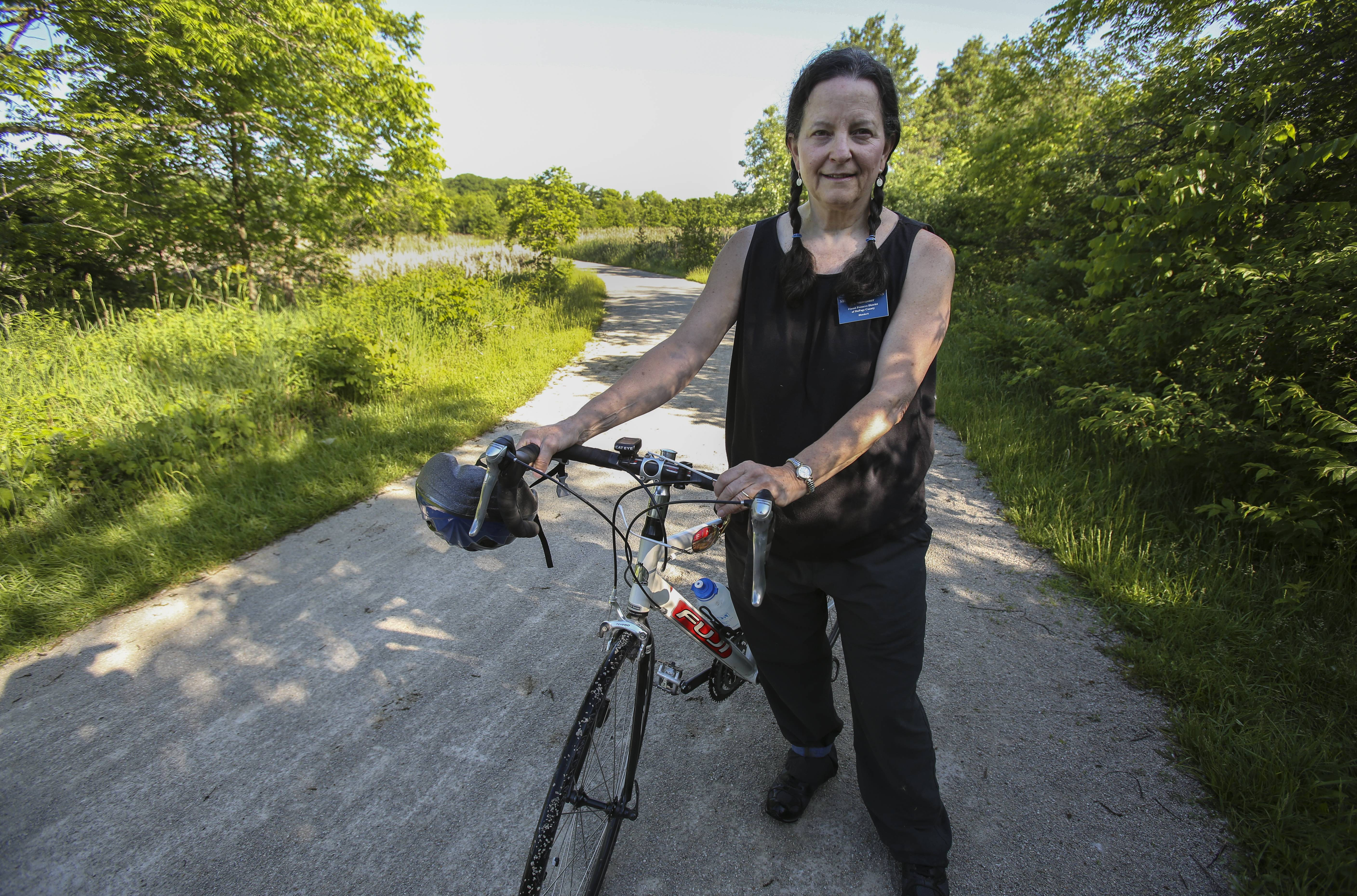DuPage forest preserve Commissioner Shannon Burns is doing a solo bike ride around the county to help raise awareness about DuPage's extensive trail system.
