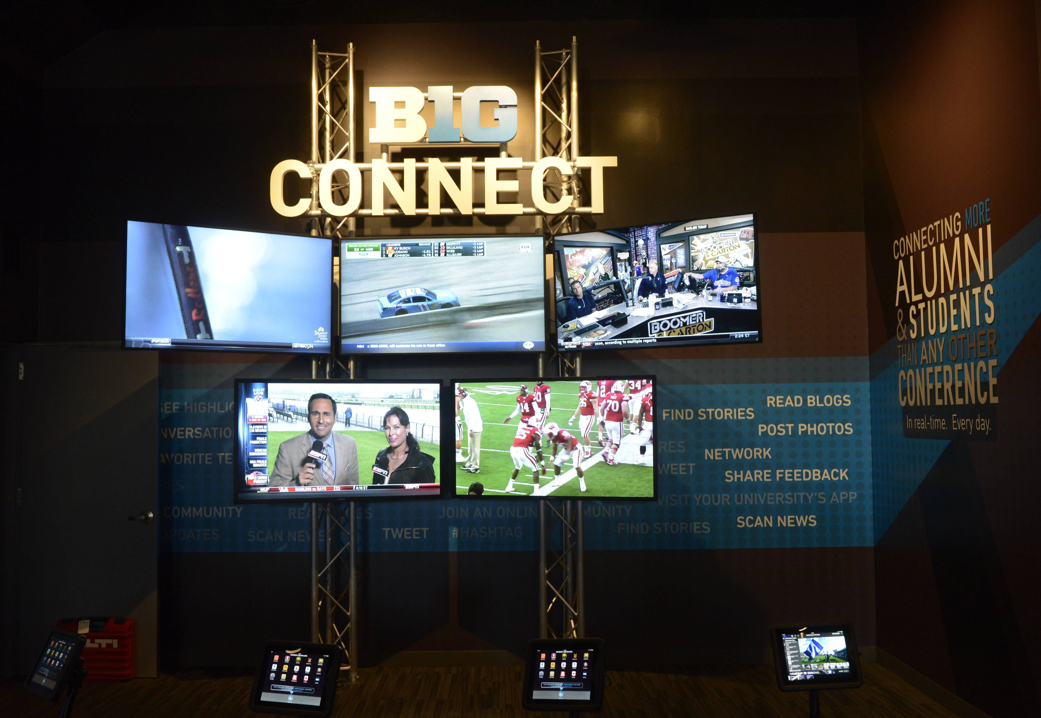 Big Ten Connect is one of the displays at the new interactive Big Ten Museum, which opens Saturday in Rosemont. Patrons can view live footage from Big Ten television partners on five screens and interact with the conference's and schools' social media pages.