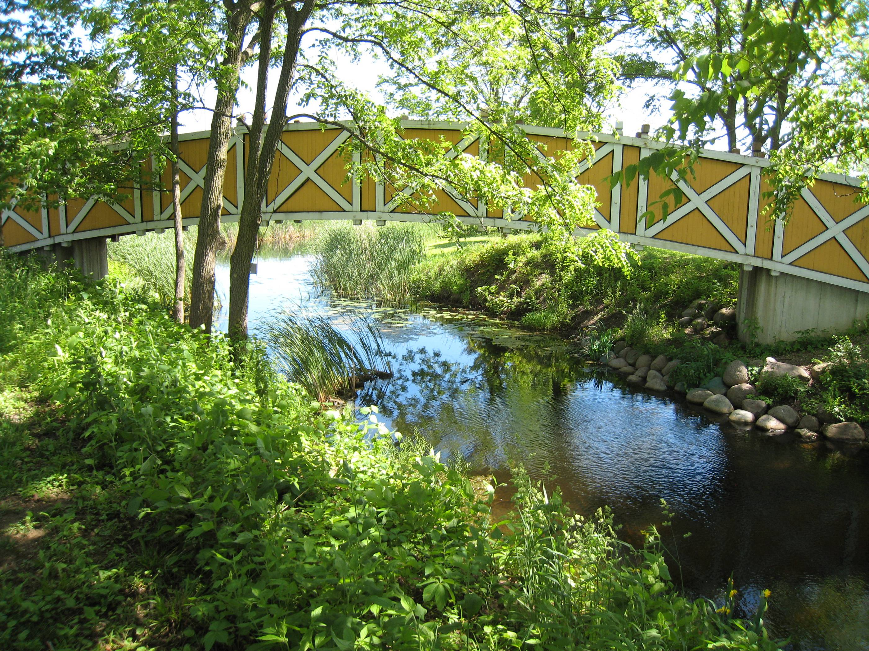 Today, I rode my bike into St. James Farm (now maintained by the DuPage Forest Preserve). I took pictures of lots of beautiful scenes, including this yellow bridge over a creek.