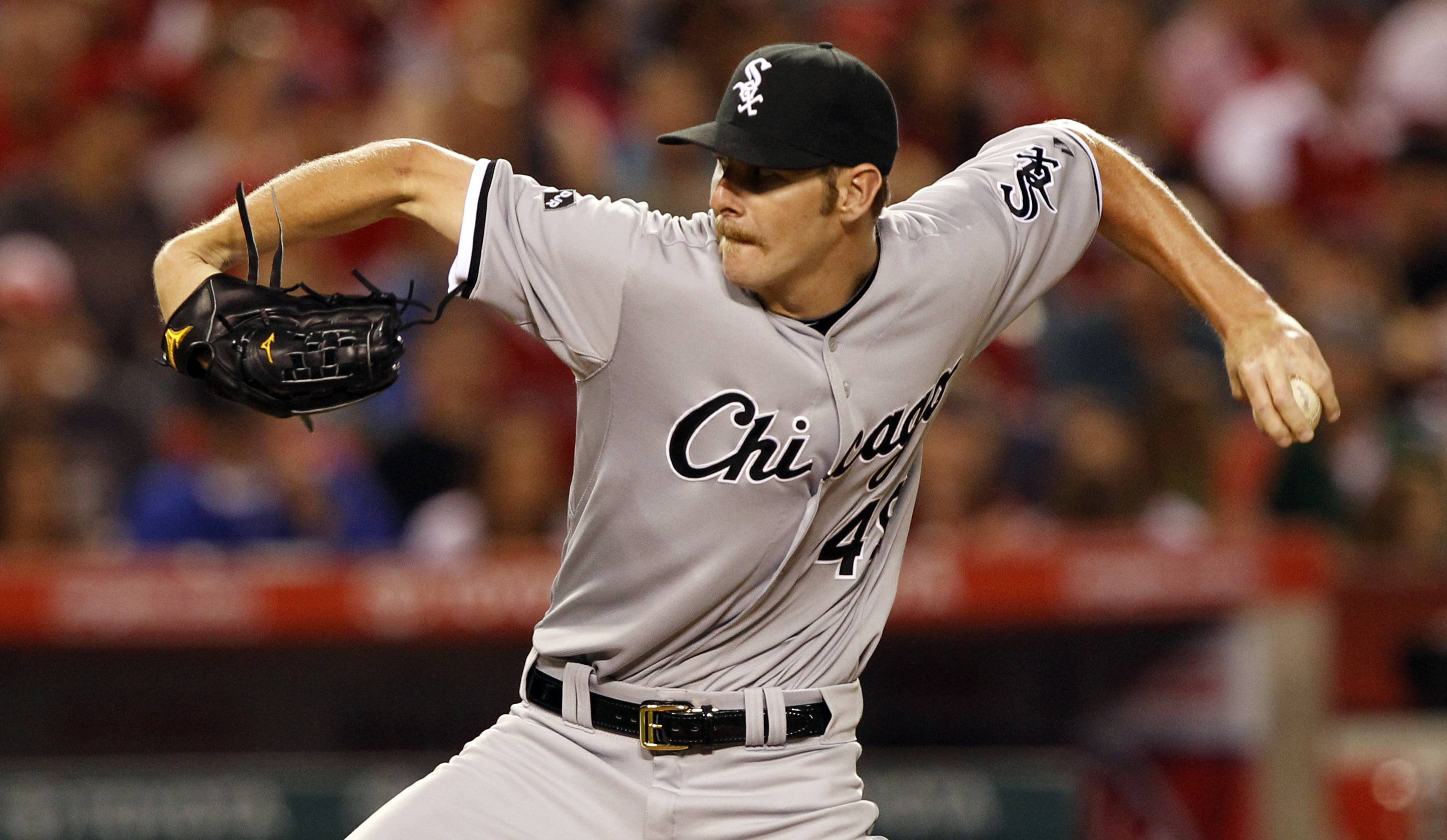 White Sox starting pitcher Chris Sale took a three-hit shutout into the eighth inning, but the Sox still lost 6-5 Saturday night in Anaheim, California.