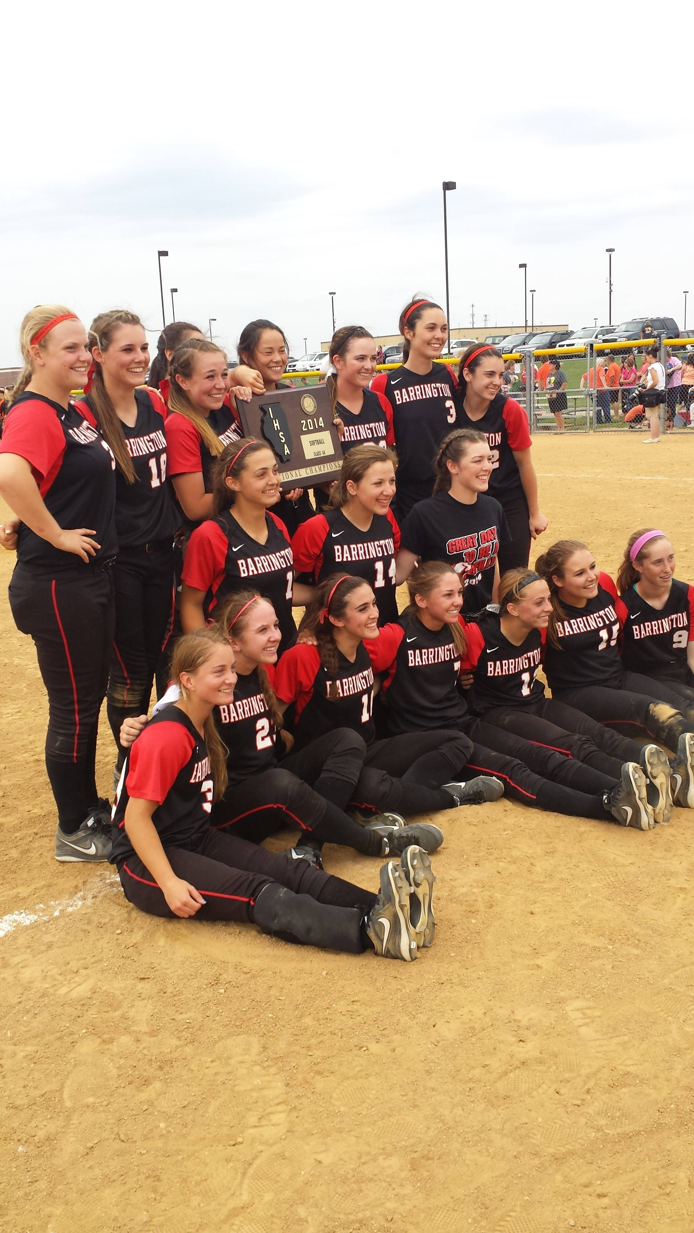 Barrington savors its 6-4 sectional final victory over DeKalb on the field at Jacobs on Saturday.