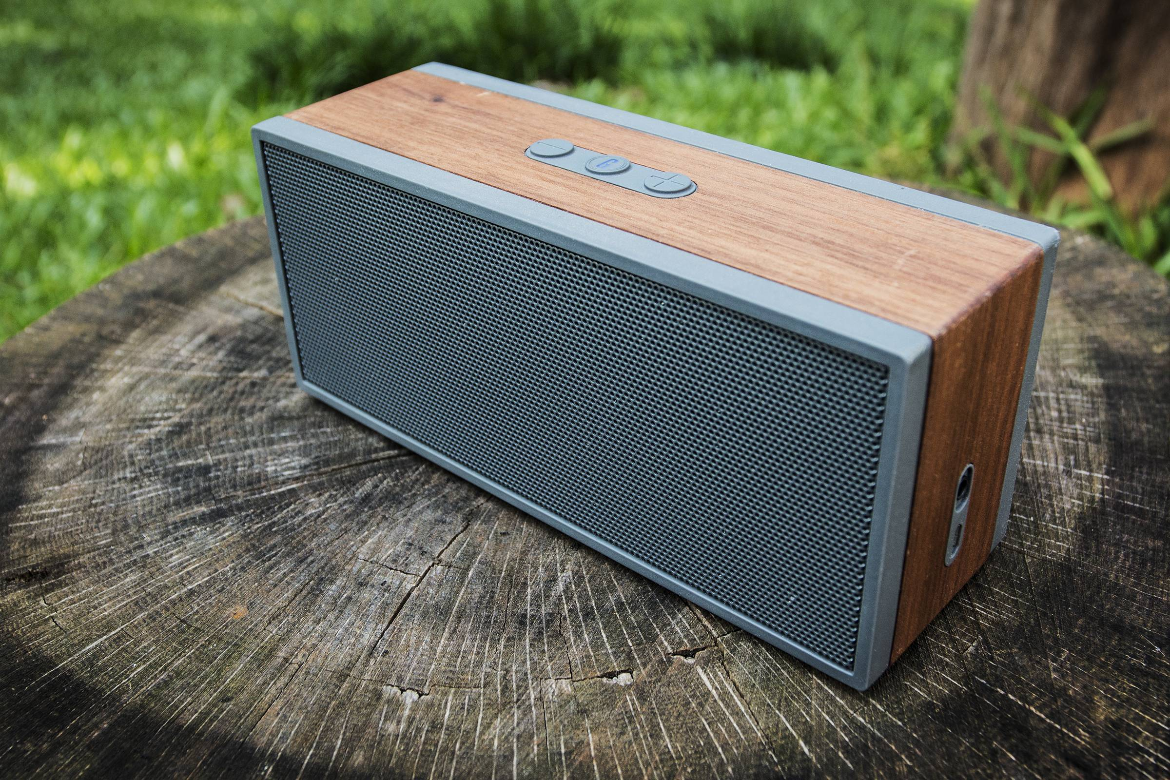 This May 26, 2014 photo shows the Grain Audio Packable Wireless System Bluetooth speaker, in Decatur, Georgia.