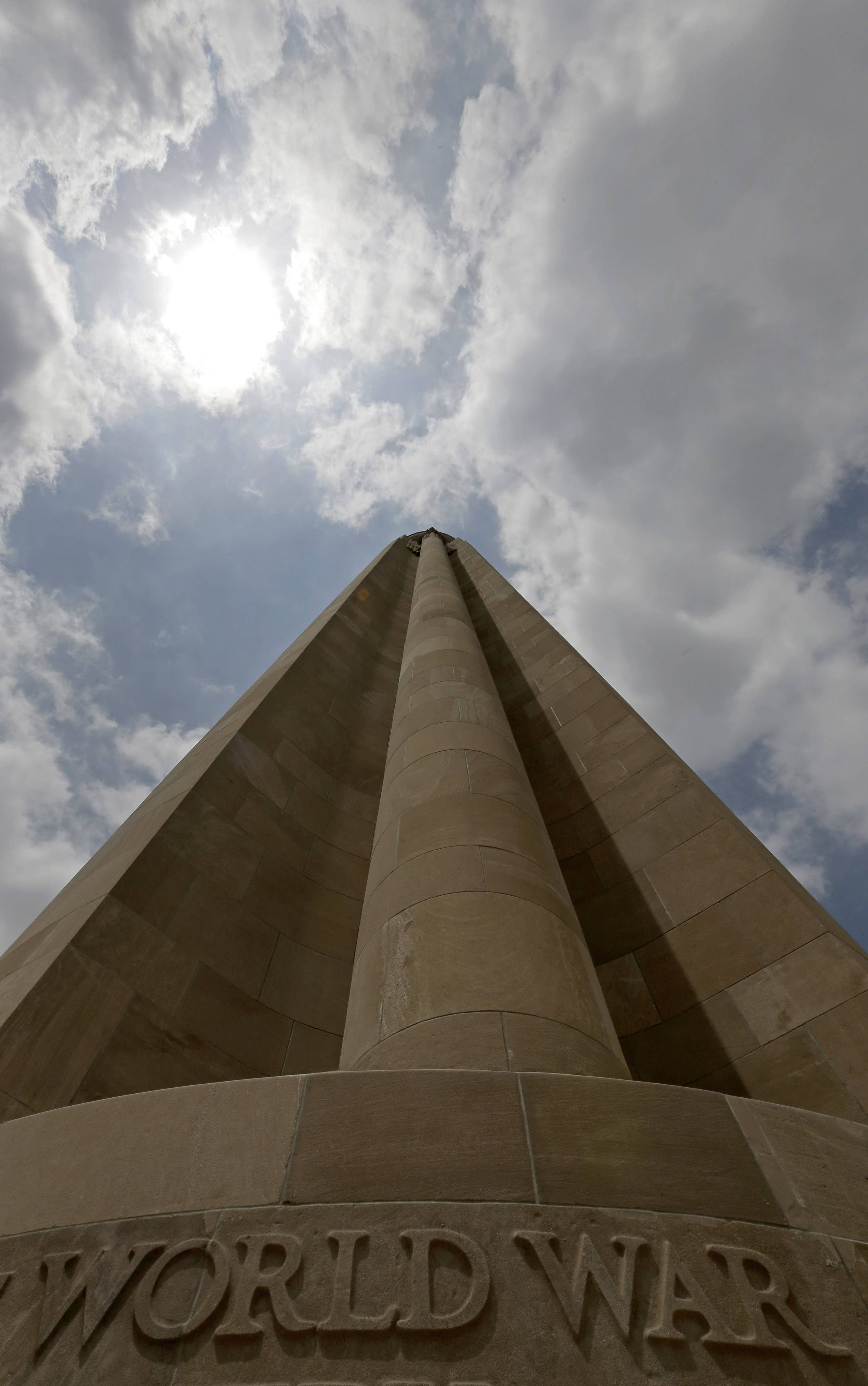 The Liberty Memorial Tower rises 217 feet above the plaza at Kansas City's National World War I Museum, which focuses on the century-old Great War.