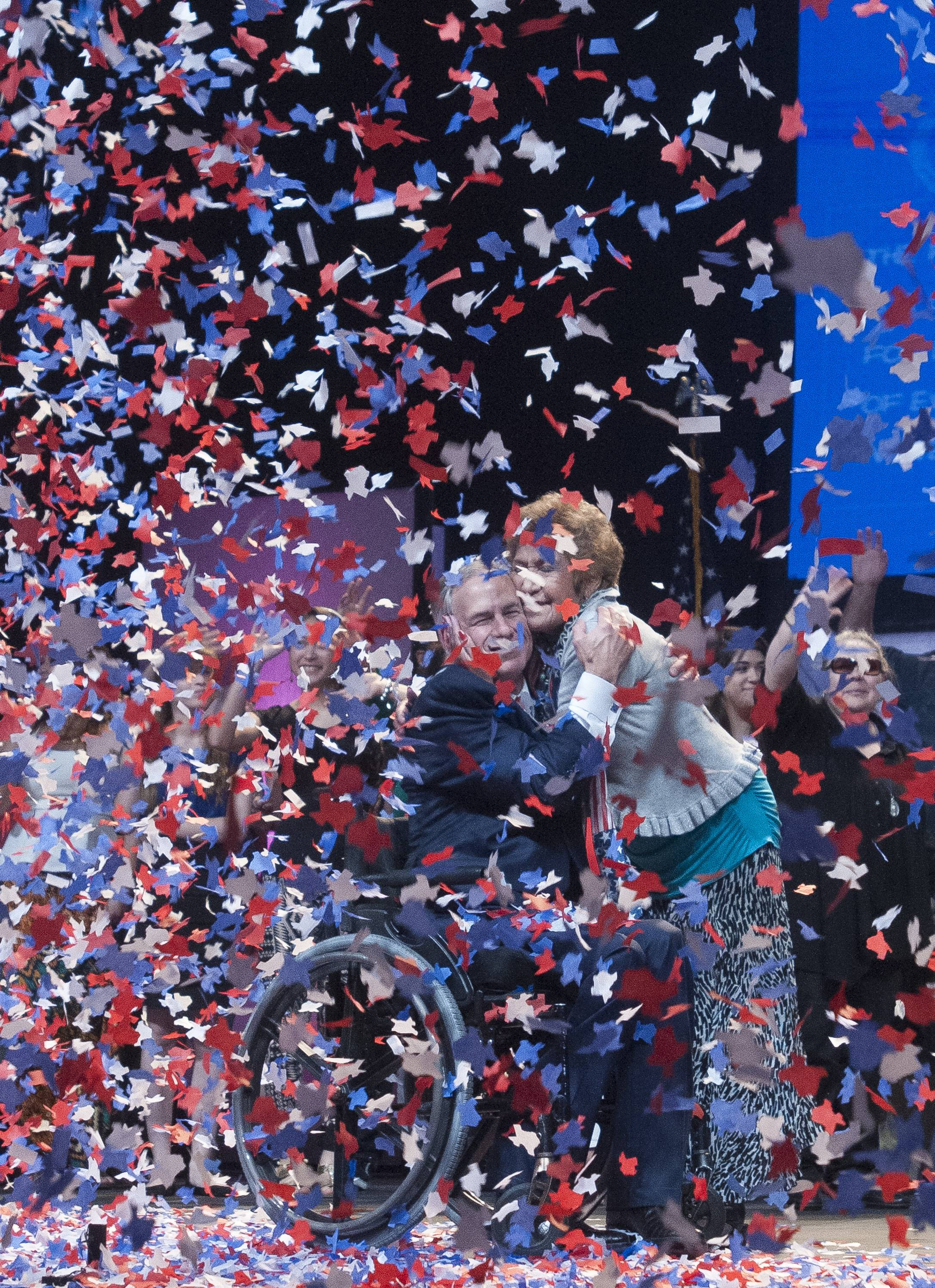 Confetti falls Friday at the end of Texas Attorney General Greg Abbott's address to the delegates of the Texas GOP Convention in Fort Worth, Texas.