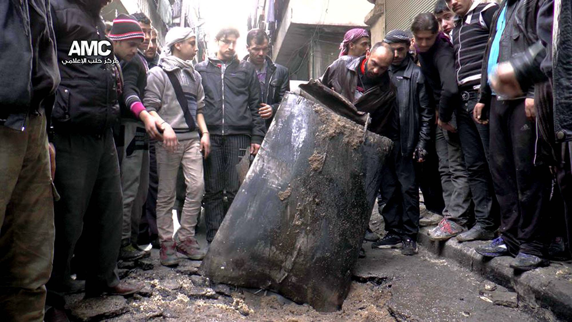 These barrel bombs were discovered in Syria. The use of barrel bombs has spread this year from Syria to Iraq, raising concerns that desperate governments in a number of unstable nations from Europe to Africa to the Middle East will turn to weapons that the international community has condemned as a violation of human rights laws.