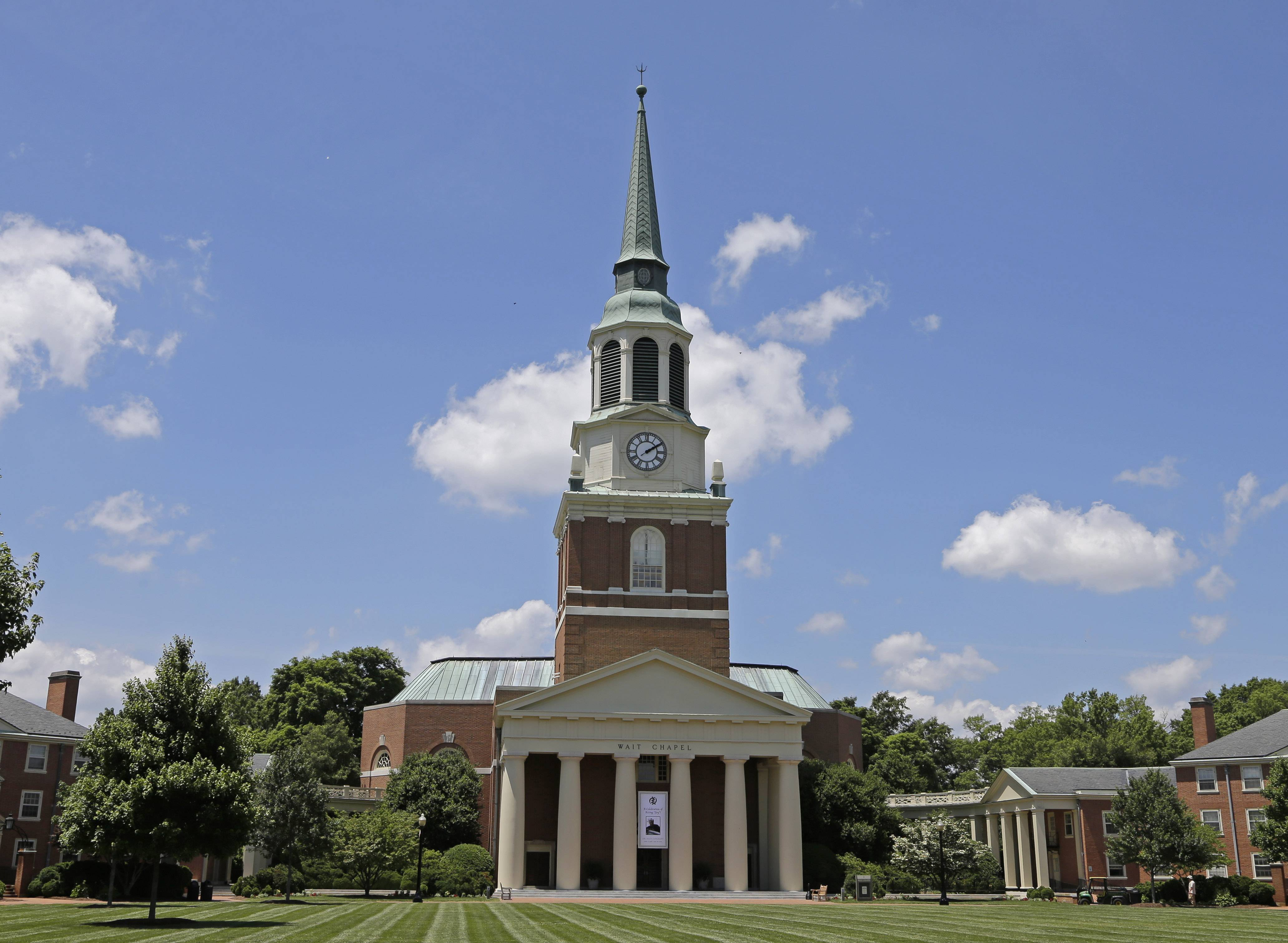 Wait Chapel is shown at Wake Forest University in Winston-Salem, N.C., Friday, June 6, 2014.  Former President Bill Clinton and Oprah Winfrey are joining First Lady Michelle Obama at a weekend memorial service for poet and author Maya Angelou at Wait Chapel.