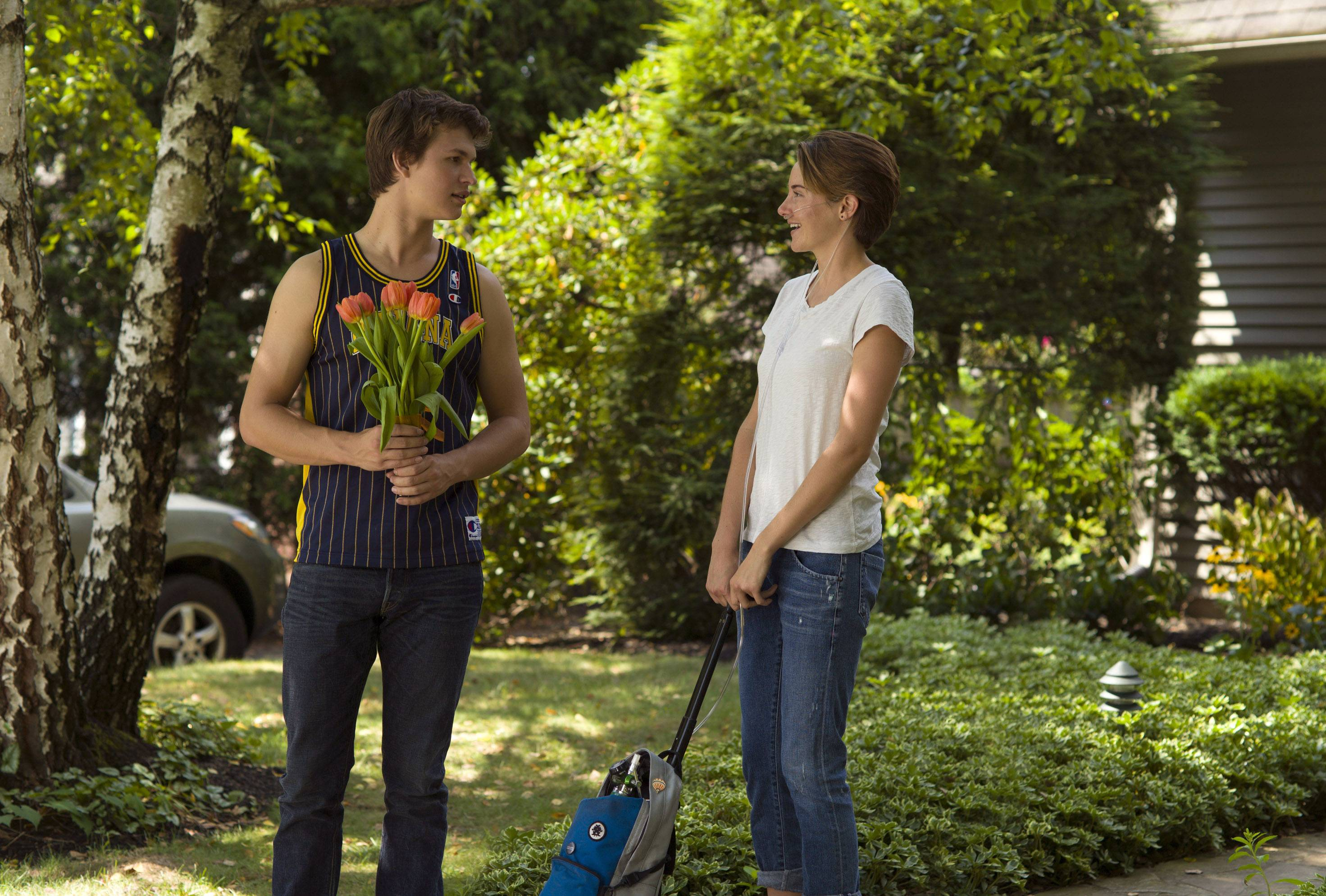 "Ansel Elgort, left, and Shailene Woodley star in ""The Fault In Our Stars,"" which topped this weekend's box office."