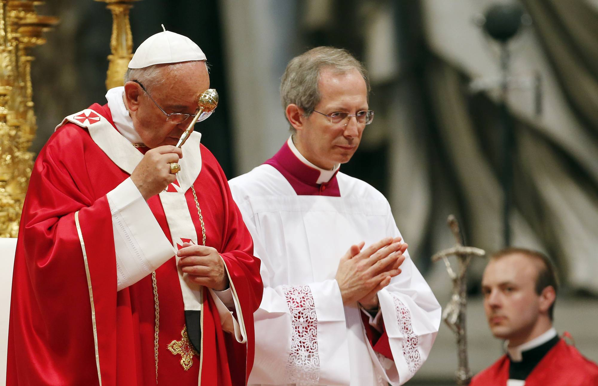 Pope Francis celebrates a Mass of Pentecost in St. Peter's Basilica Sunday at the Vatican.