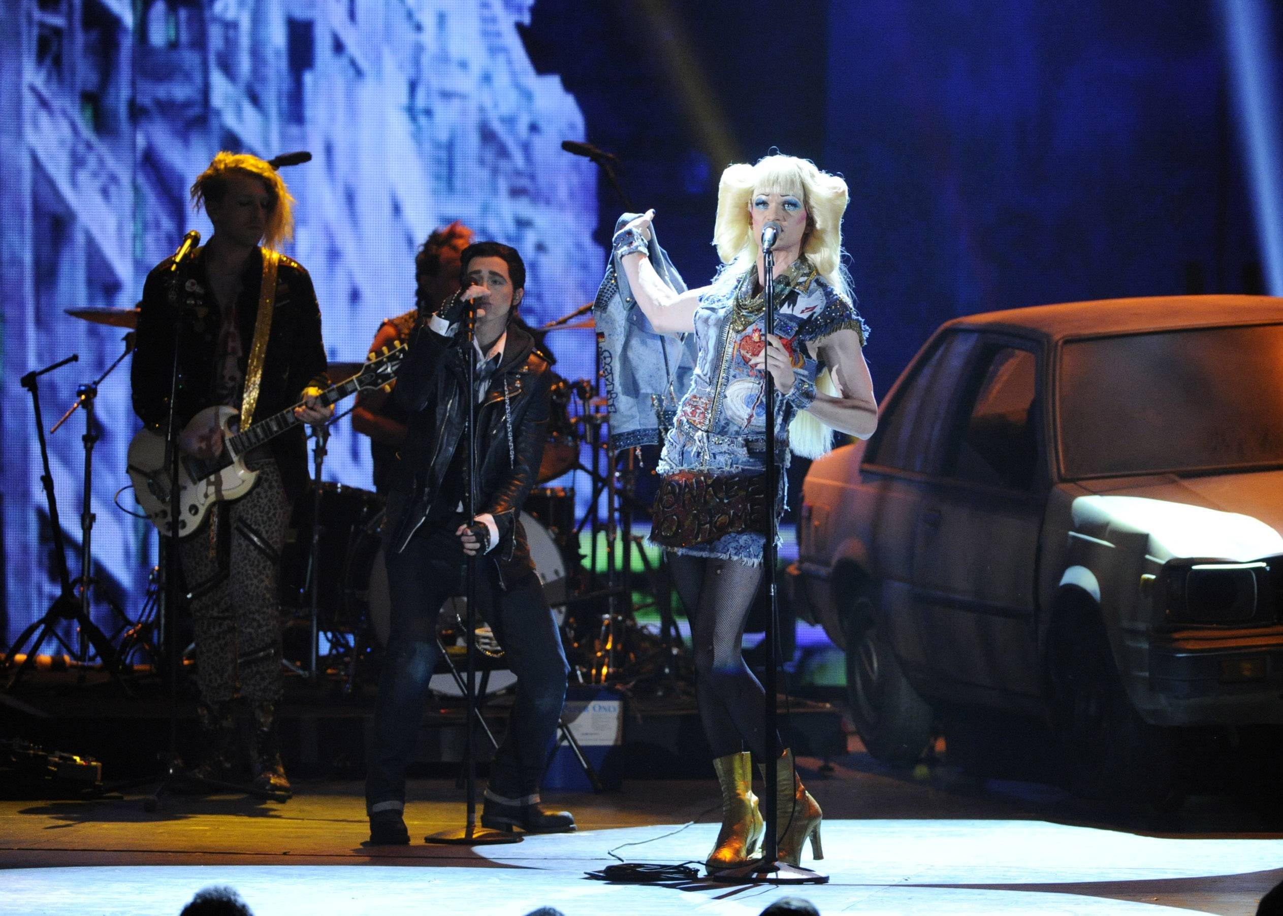 "Neil Patrick Harris and the cast of ""Hedwig and the Angry Inch"" perform onstage at the 68th annual Tony Awards Sunday night at Radio City Music Hall in New York. Harris took home best actor in a musical trophy."
