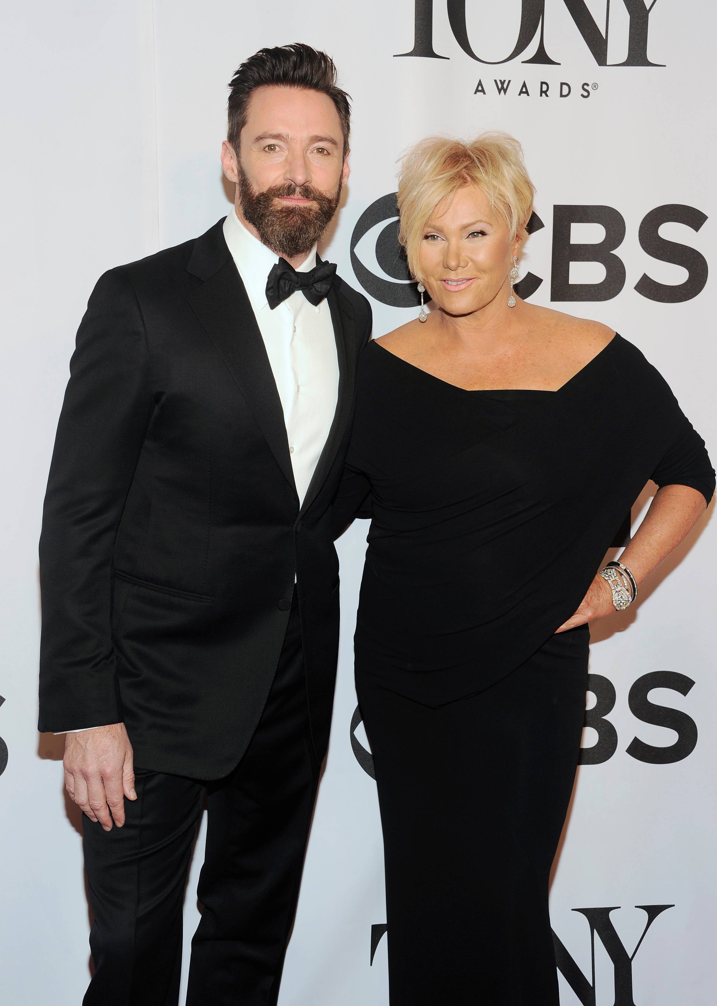 Tony host Hugh Jackman and his wife, Deborra-Lee Furness, arrive at the 68th annual Tony Awards at Radio City Music Hall on Sunday.