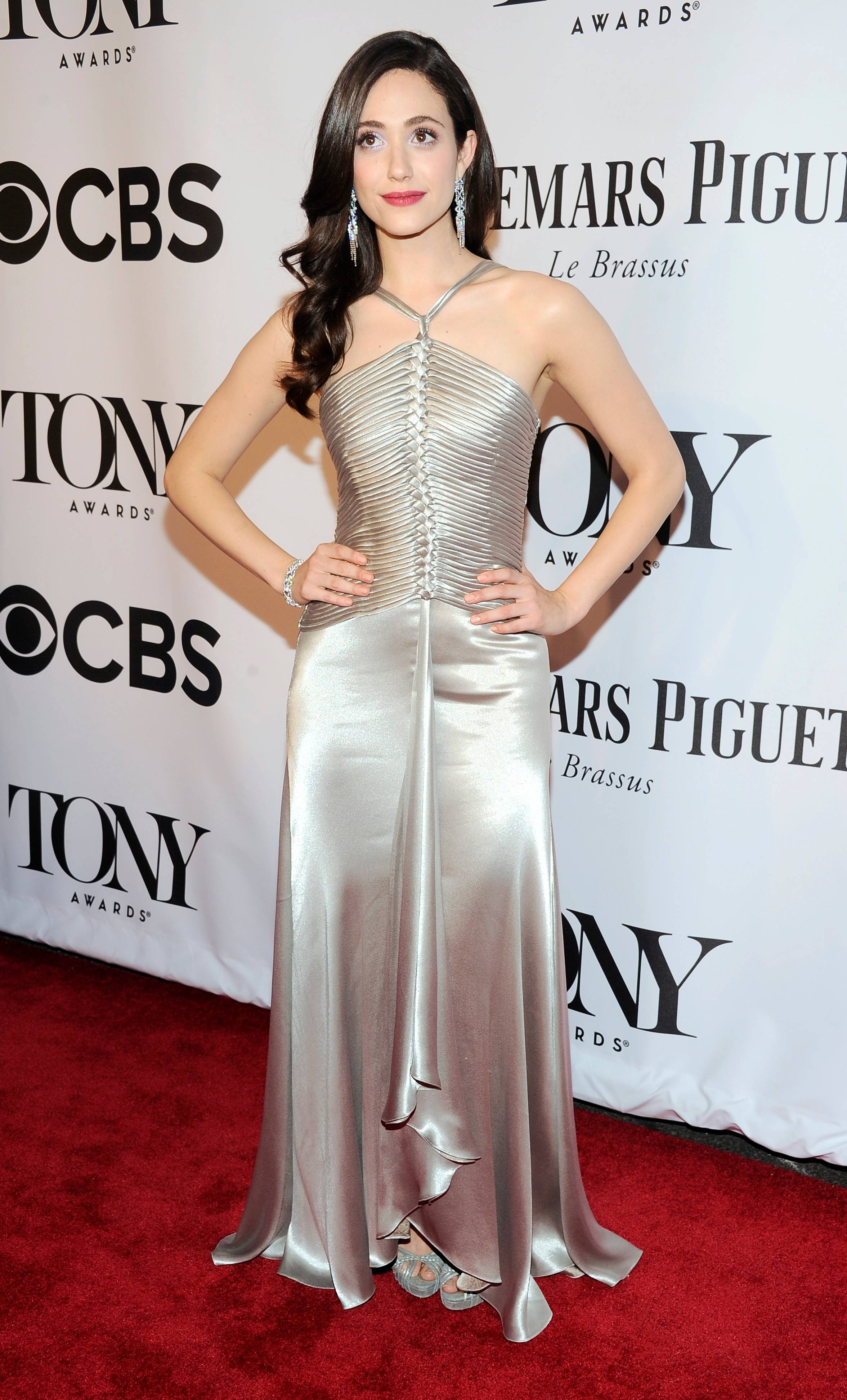Emmy Rossum arrives at the 68th annual Tony Awards at Radio City Music Hall on Sunday, June 8, 2014, in New York.