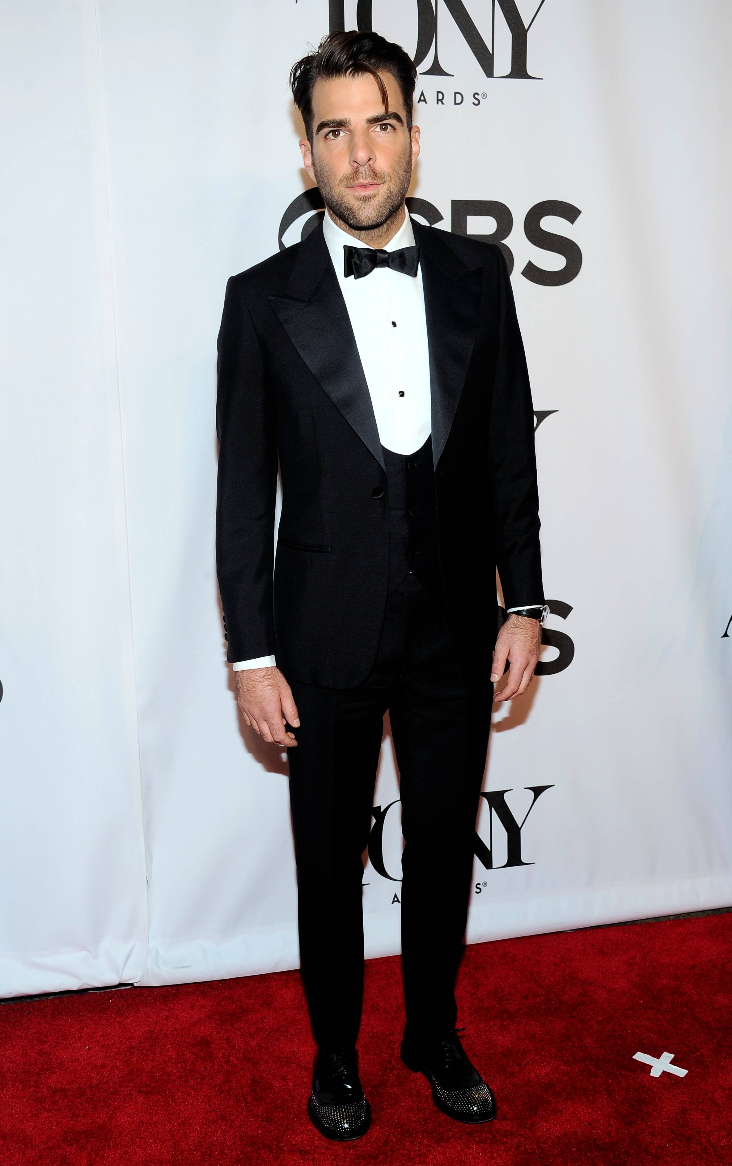 "Zachary Quinto, who is currently starring in a revival of ""The Glass Menagerie,"" arrives at the 68th annual Tony Awards at Radio City Music Hall on Sunday."