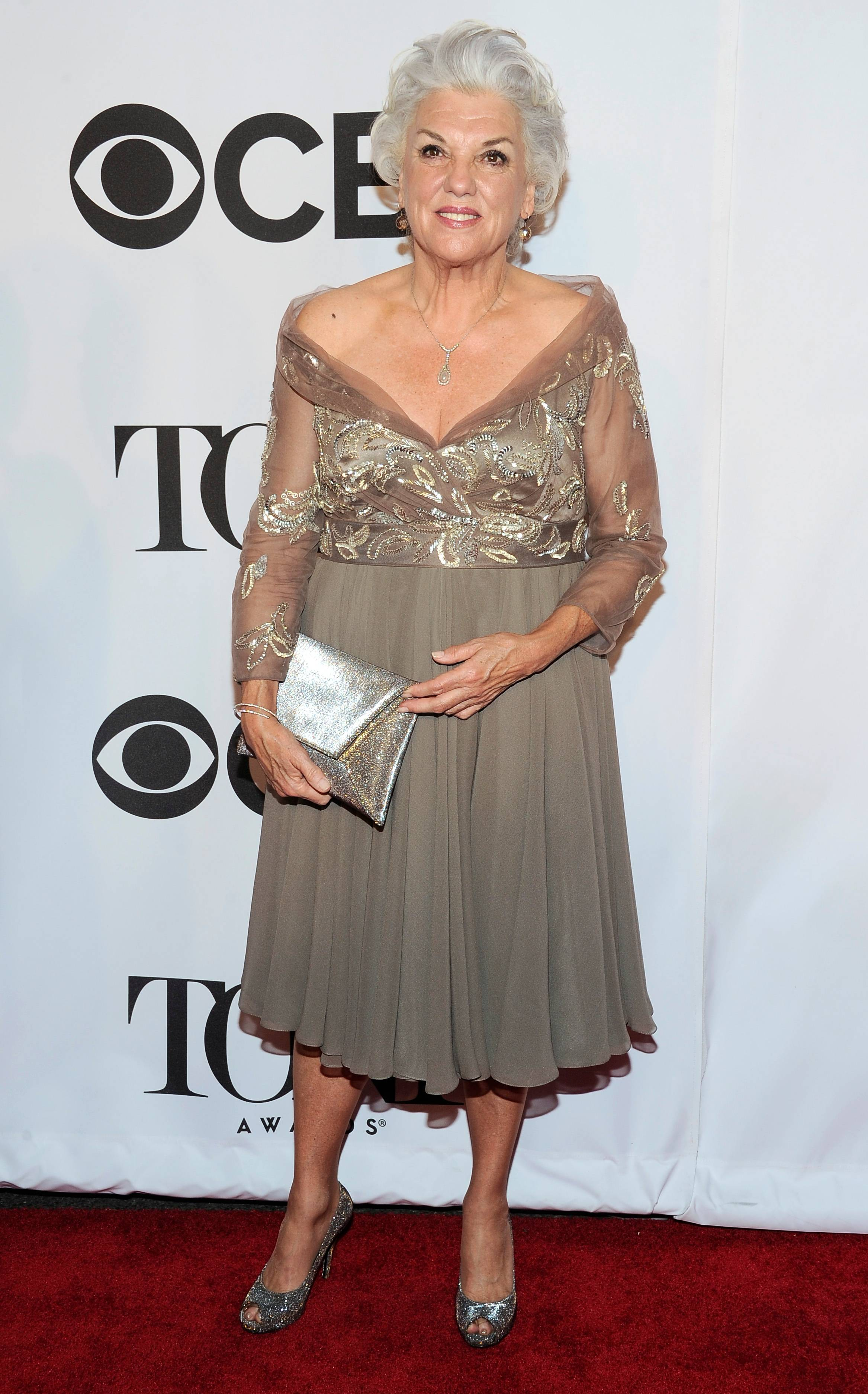 "Tyne Daly, who is nominated for her role in ""Mothers and Sons,"" arrives at the 68th annual Tony Awards at Radio City Music Hall on Sunday, June 8, 2014, in New York."