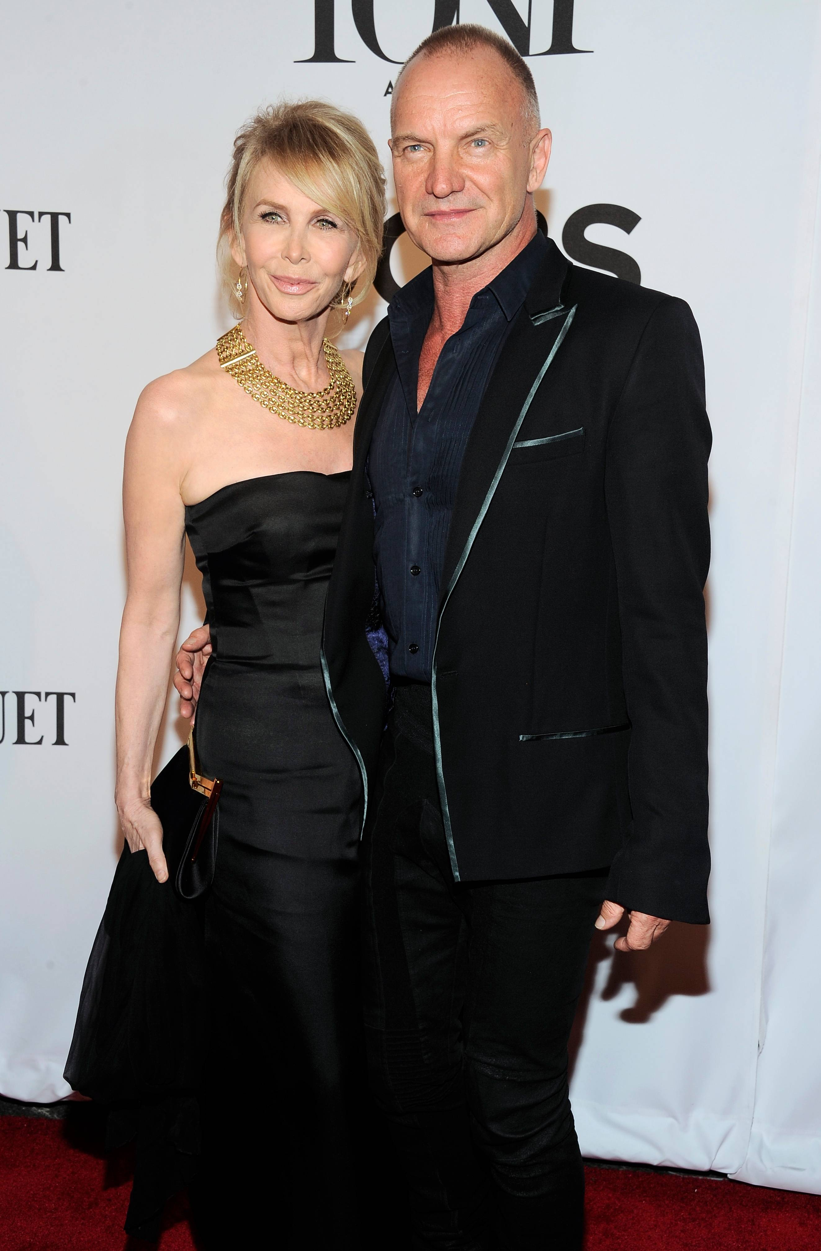 Trudie Styler, left, and Sting arrive at the 68th annual Tony Awards at Radio City Music Hall on Sunday.