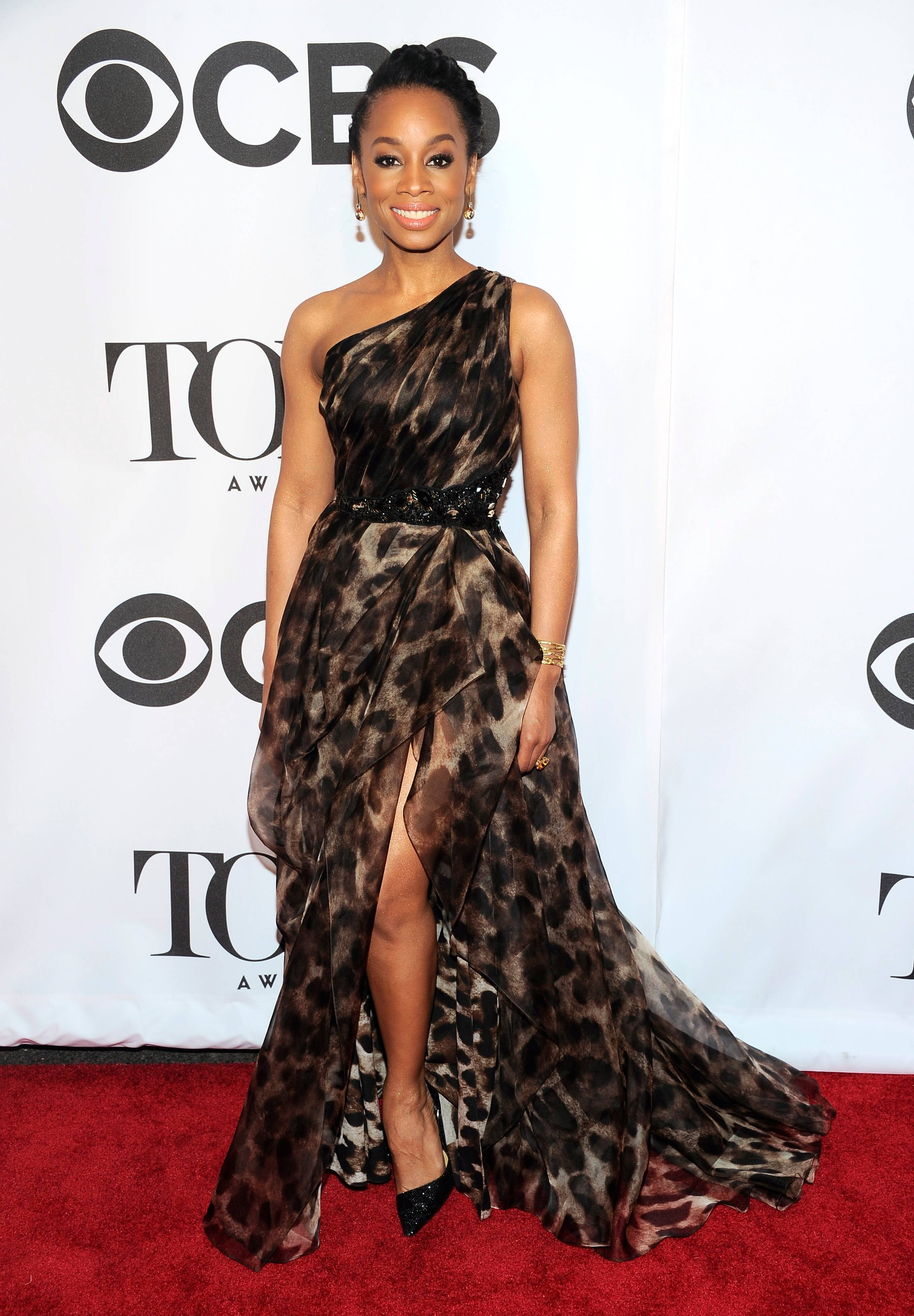 "Anika Noni Rose, who is nominated for her role in ""A Raisin in the Sun,"" makes her way into the 68th annual Tony Awards at Radio City Music Hall on Sunday."