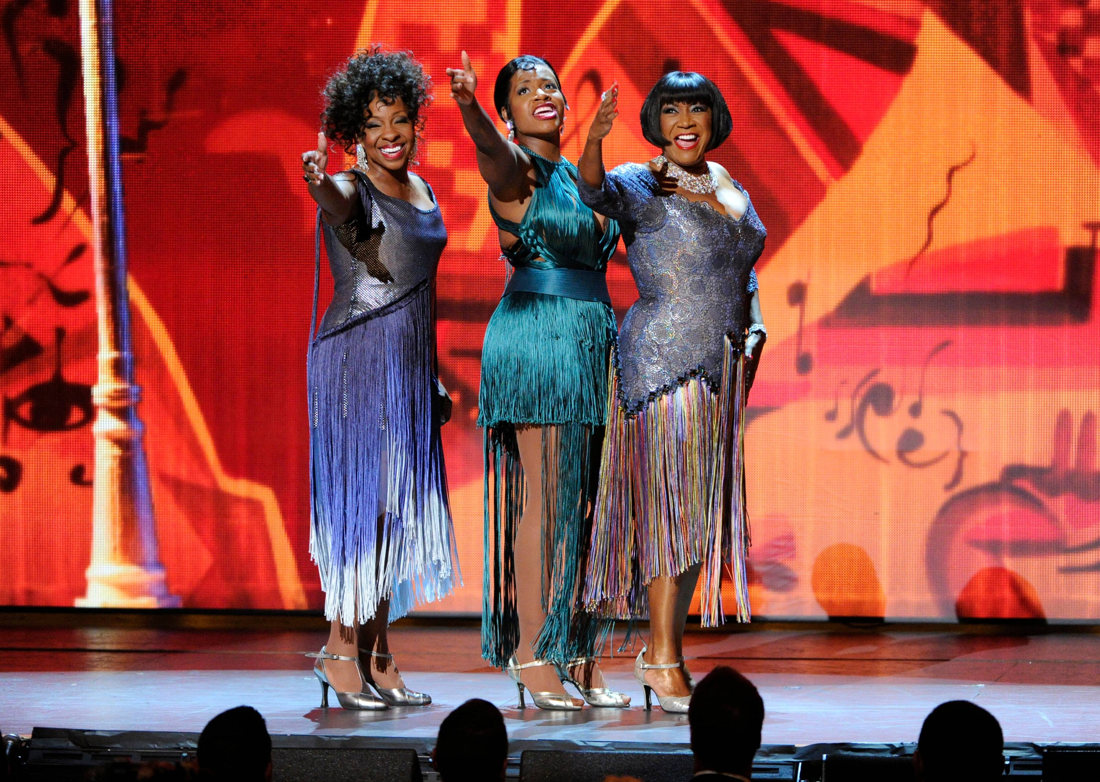 "From left, Gladys Knight, Fantasia Barrino and Patti LaBelle perform ""On the Sunny Side of the Street"" during the Tonys."