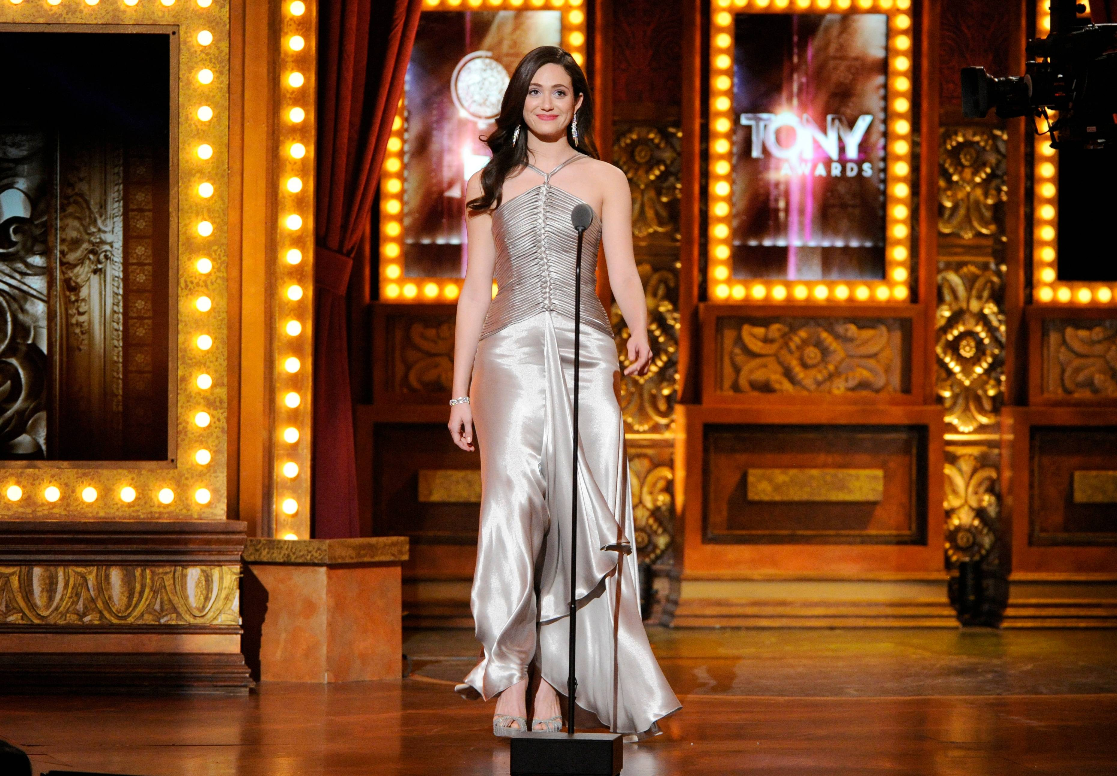 Emmy Rossum spekas onstage at the 68th annual Tony Awards at Radio City Music Hall on Sunday.