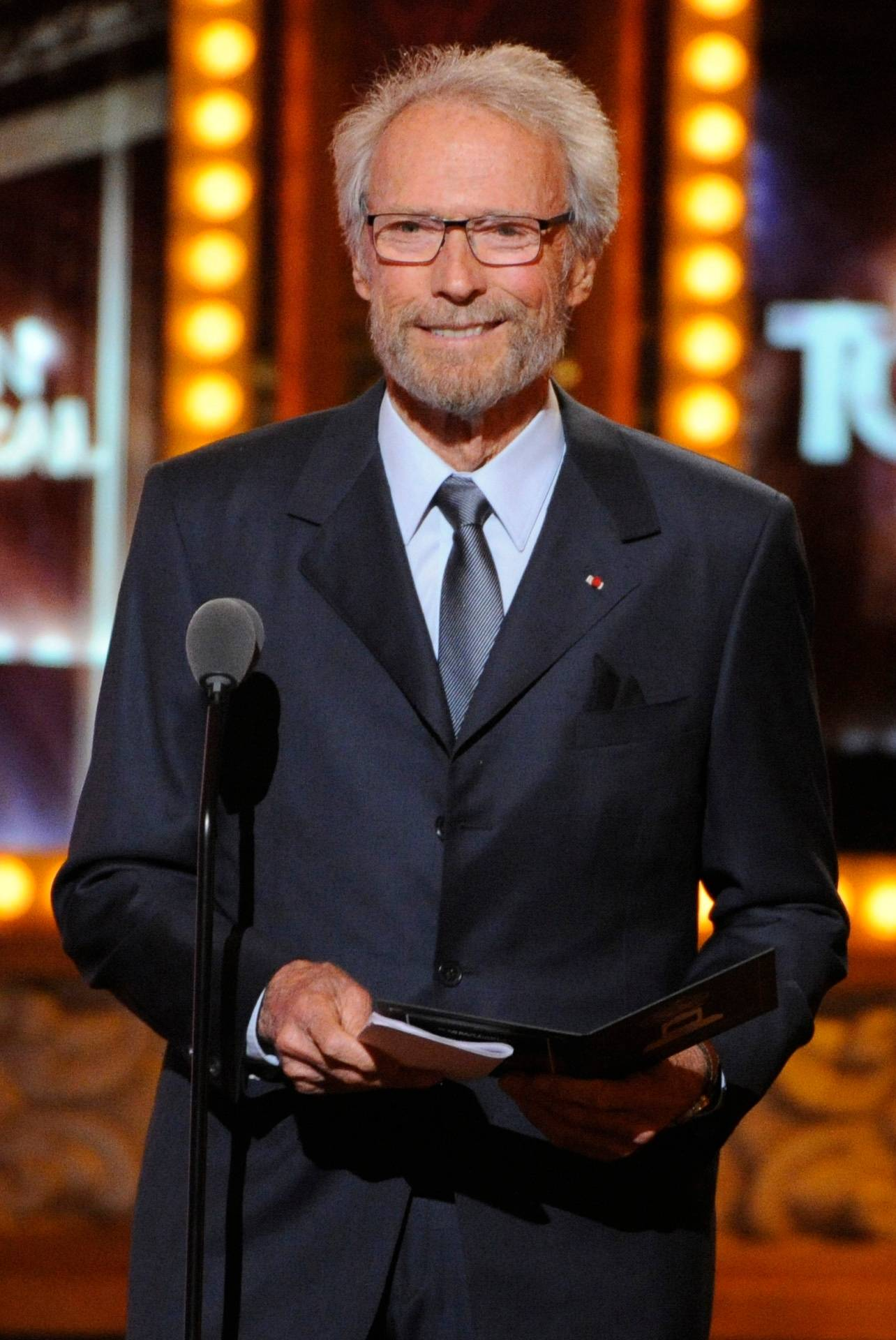 Clint Eastwood speaks onstage at the 68th annual Tony Awards at Radio City Music Hall on Sunday.