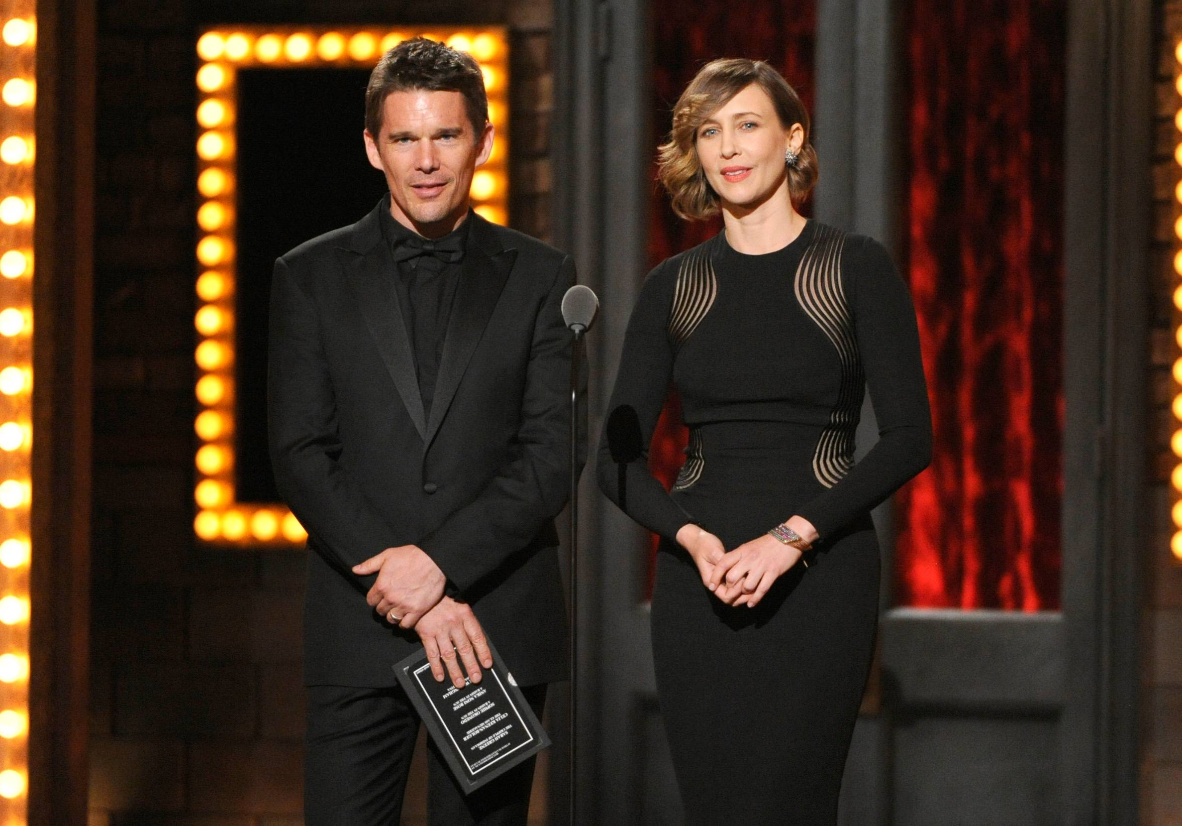 Ethan Hawke and Vera Farmiga present the award for best performance by an actress in a featured role in a play on stage at the 68th annual Tony Awards.