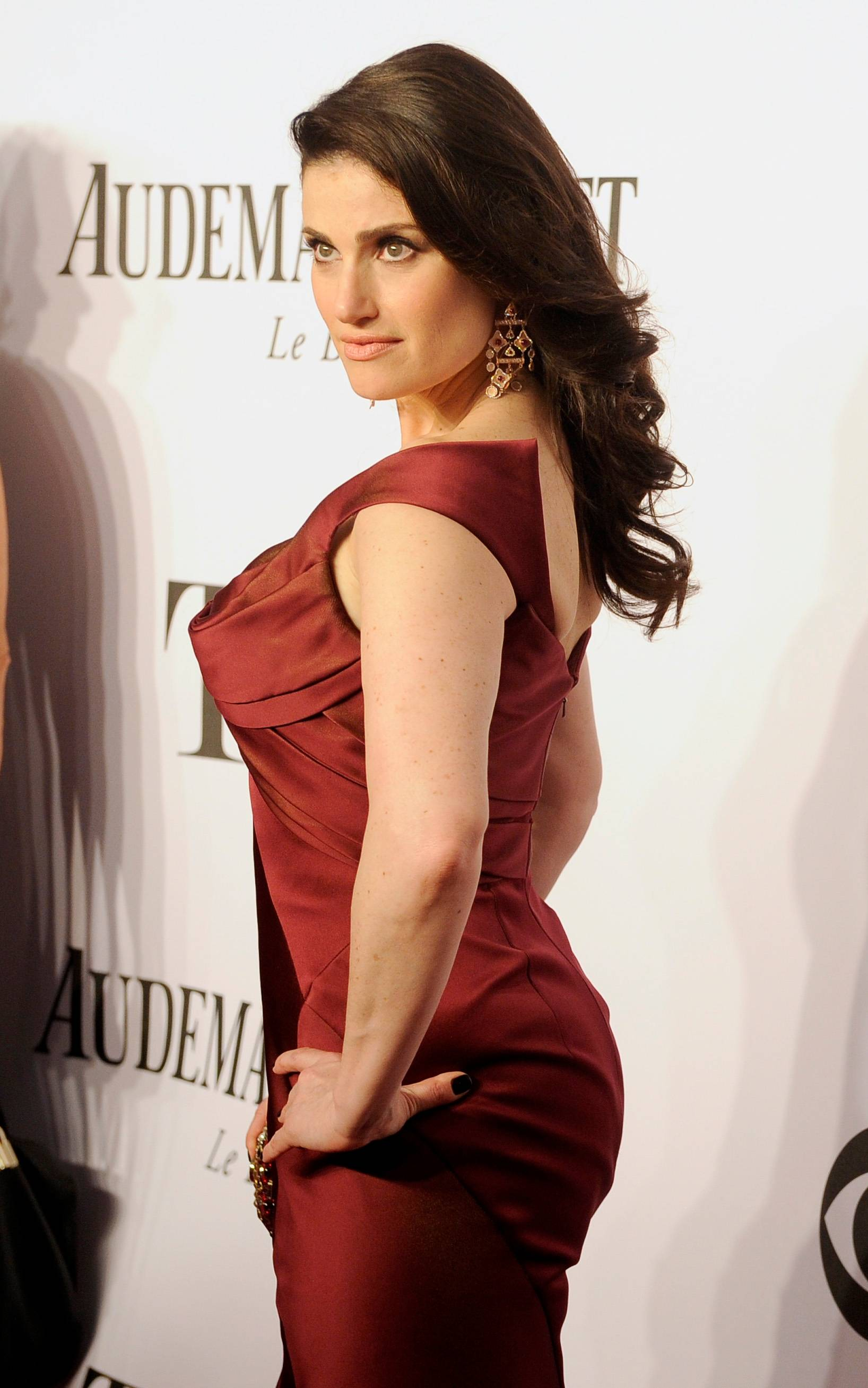 "Idina Menzel, who is nominated for her role in ""If/Then,"" arrives at the 68th annual Tony Awards at Radio City Music Hall on Sunday in New York."