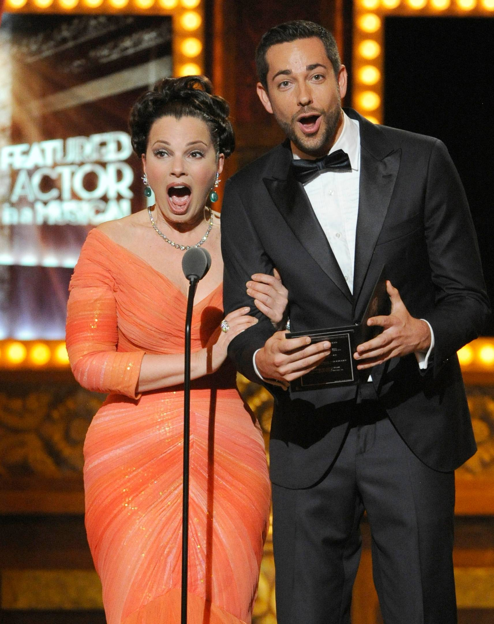Fran Drescher and Zachary Levi present the award for best performance by an actor in a featured role in a musical on stage at the 68th annual Tony Awards at Radio City Music Hall on Sunday.