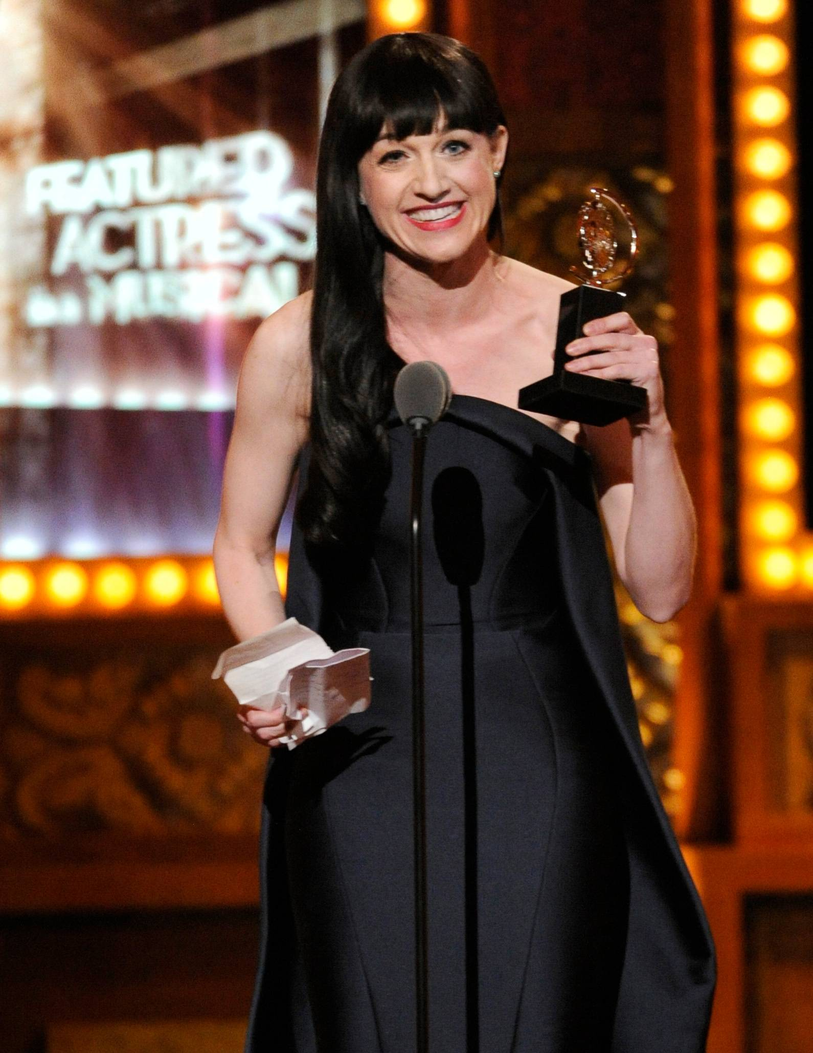 "Lena Hall accepts the award for best performance by an actress in a featured role in a musical for ""Hedwig and the Angry Inch"" on stage at the 68th annual Tony Awards."