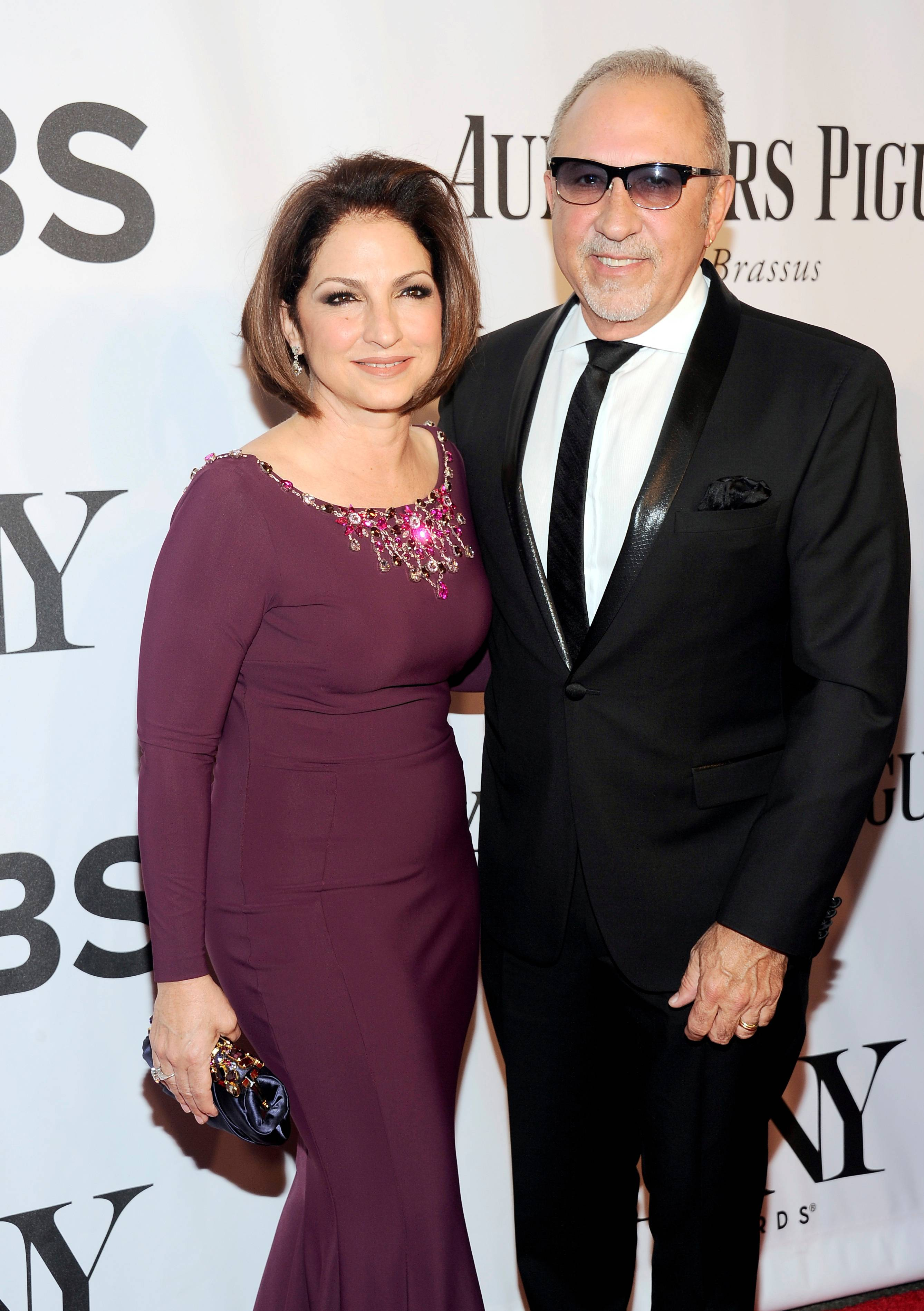 "Gloria Estefan and her husband Emilio Estefan arrive at the 68th annual Tony Awards at Radio City Music Hall on Sunday, June 8, 2014, in New York. The Estefans will premiere their ""On Your Feet"" in 2015."