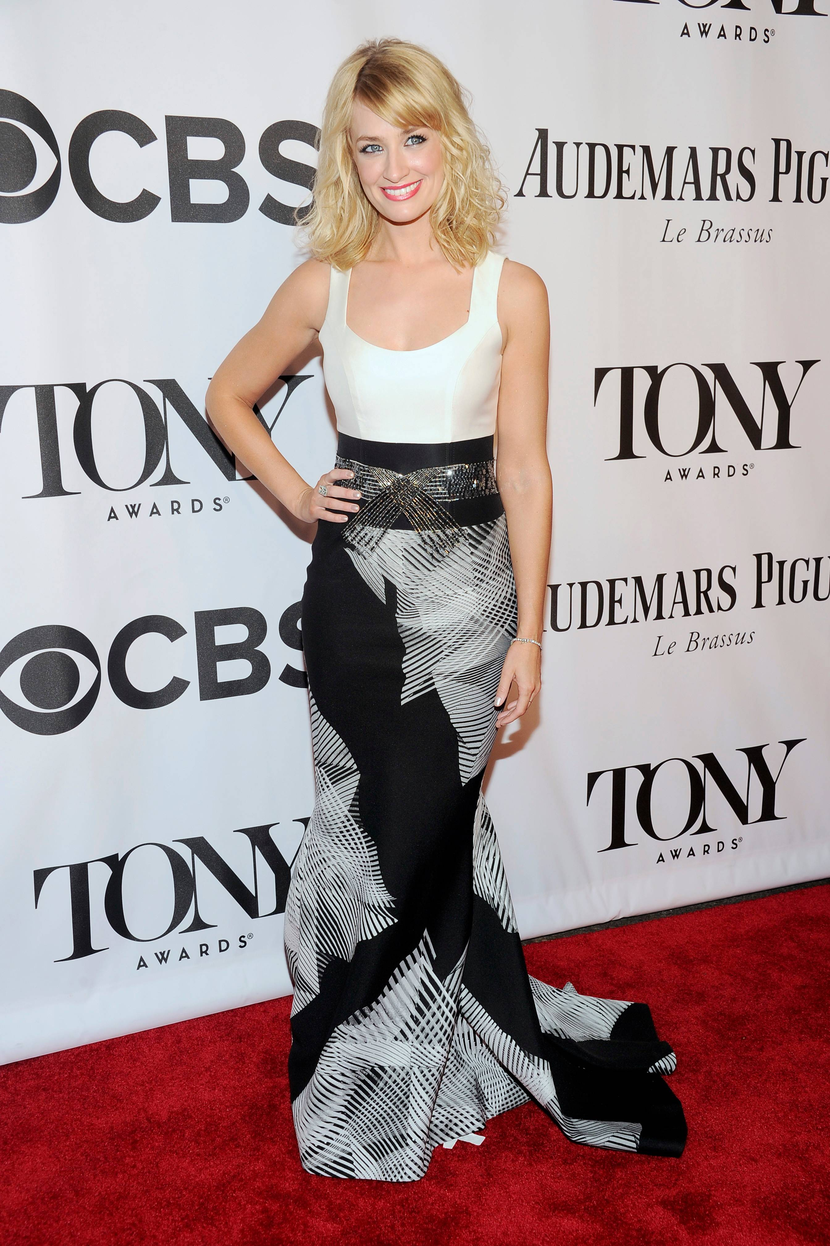 """Two Broke Girls"" star Beth Behrs arrives at the 68th annual Tony Awards at Radio City Music Hall."