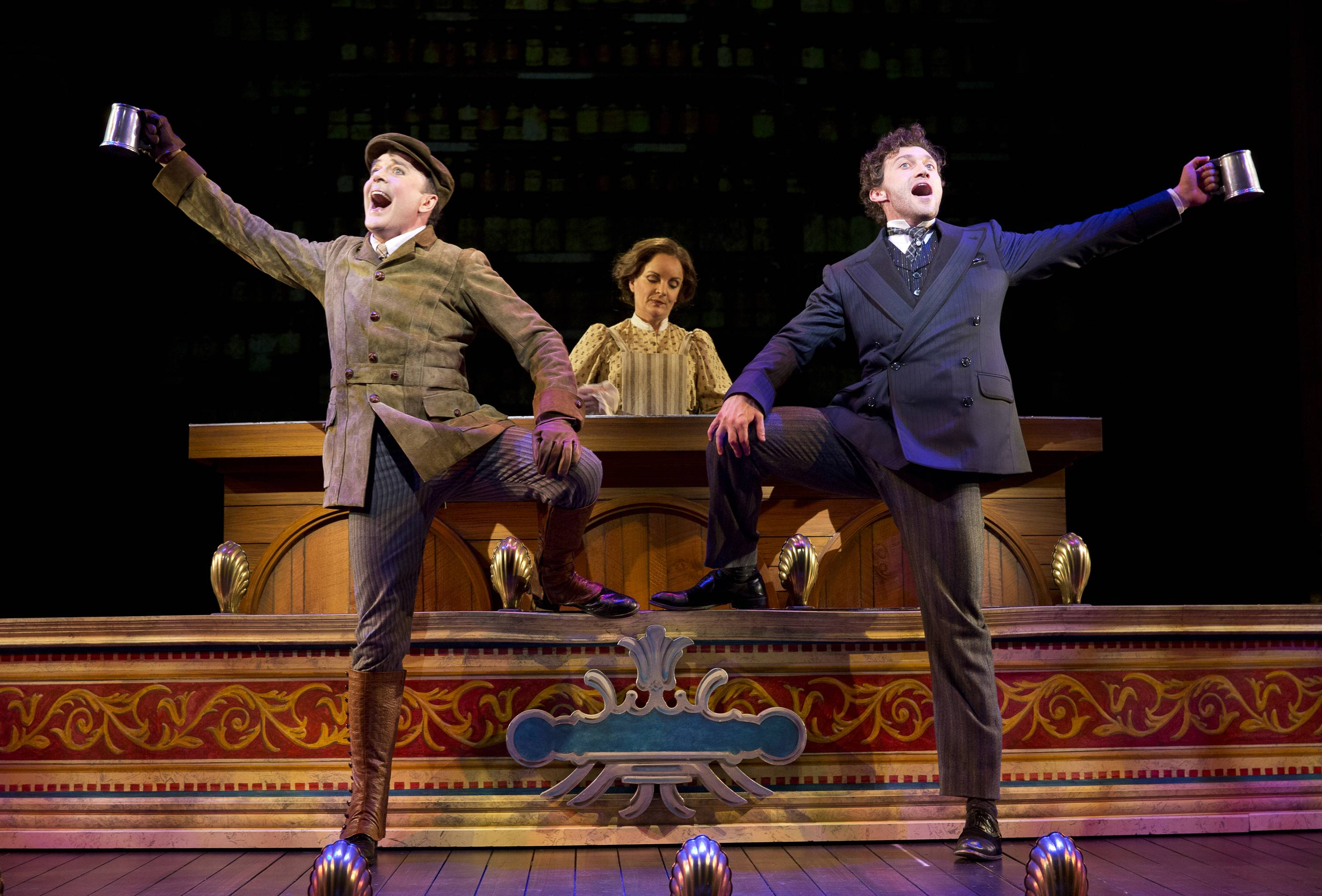 "Jefferson Mays, left, as Henry D'Ysquith, Jennifer Smith, and Bryce Pinkham as Monty Navarro star in ""A Gentleman's Guide to Love and Murder."" The production was nominated for 10 Tony Awards, which will be held on Sunday in New York."
