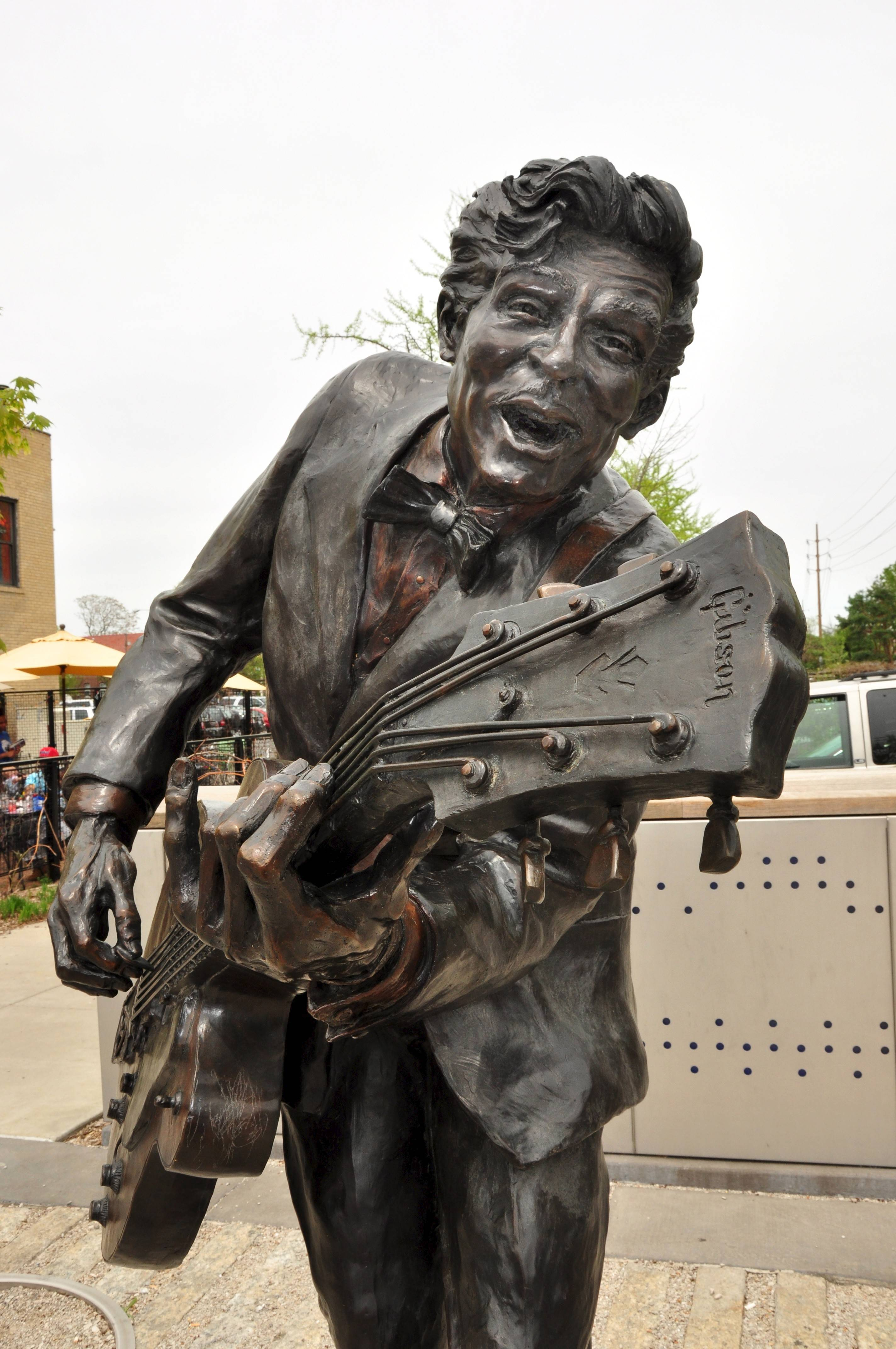 A statue on Delmar Boulevard honors Chuck Berry, the father of rock 'n' roll.