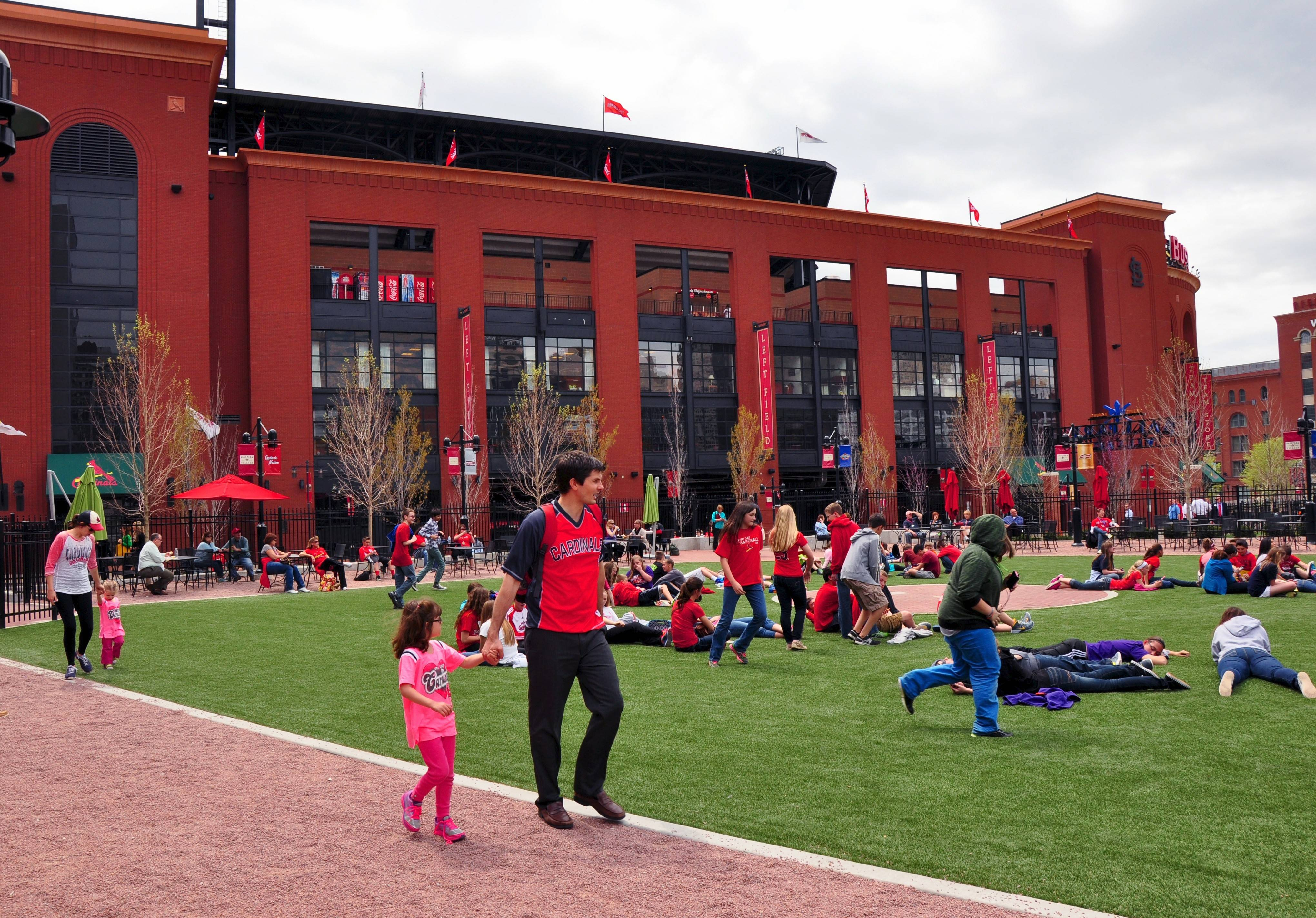 The original infield from the second Busch Stadium is part of the new Ballpark Village complex, which is across the street from the Cardinals' current ballpark.