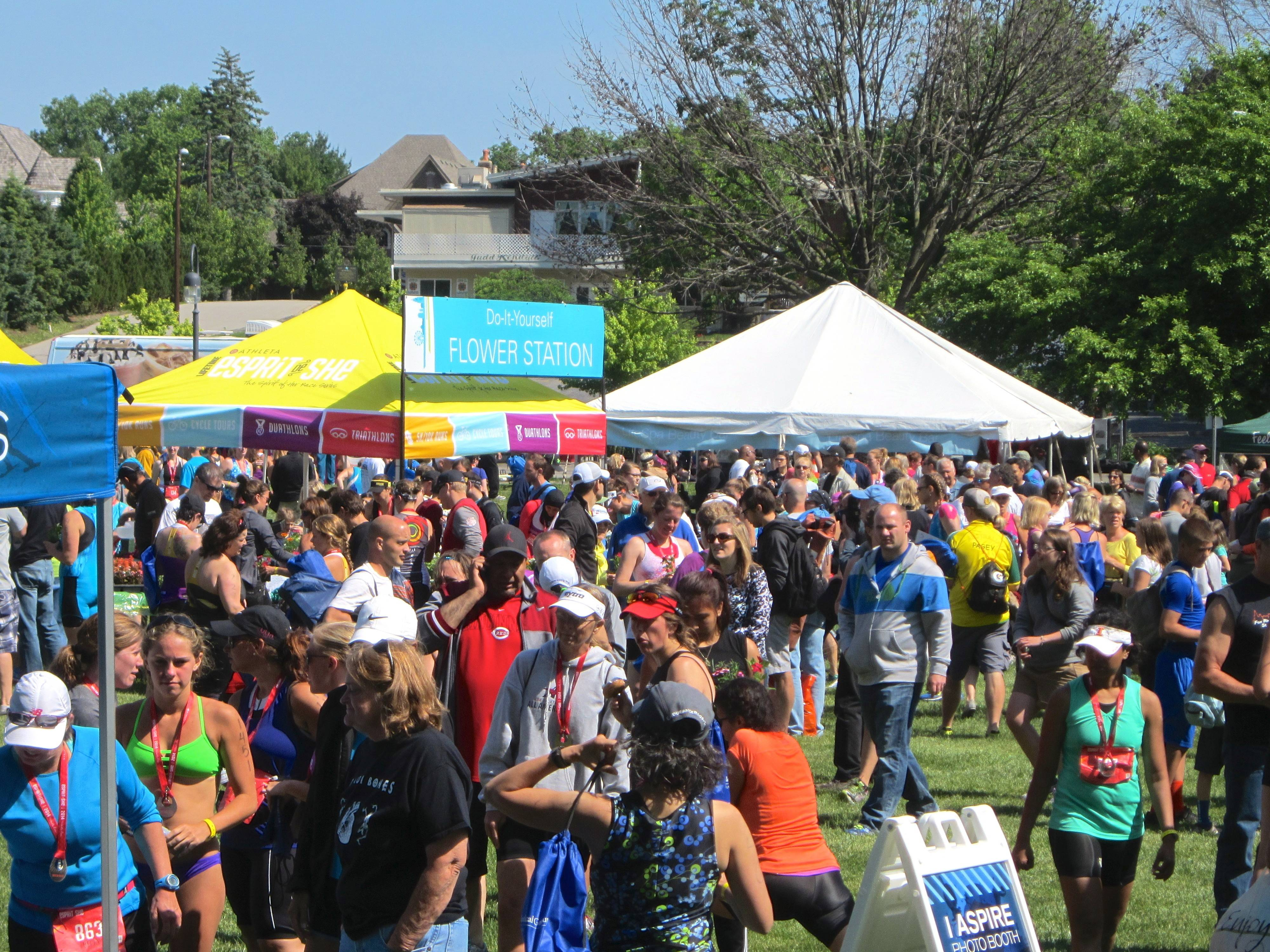 The annual Esprit de She Triathlon in Naperville brought a big crowd of athletes and supporters to Centennial Beach on Sunday. The event featured a half-mile swim, 13.3-mile bike ride and 3.1-mile run.