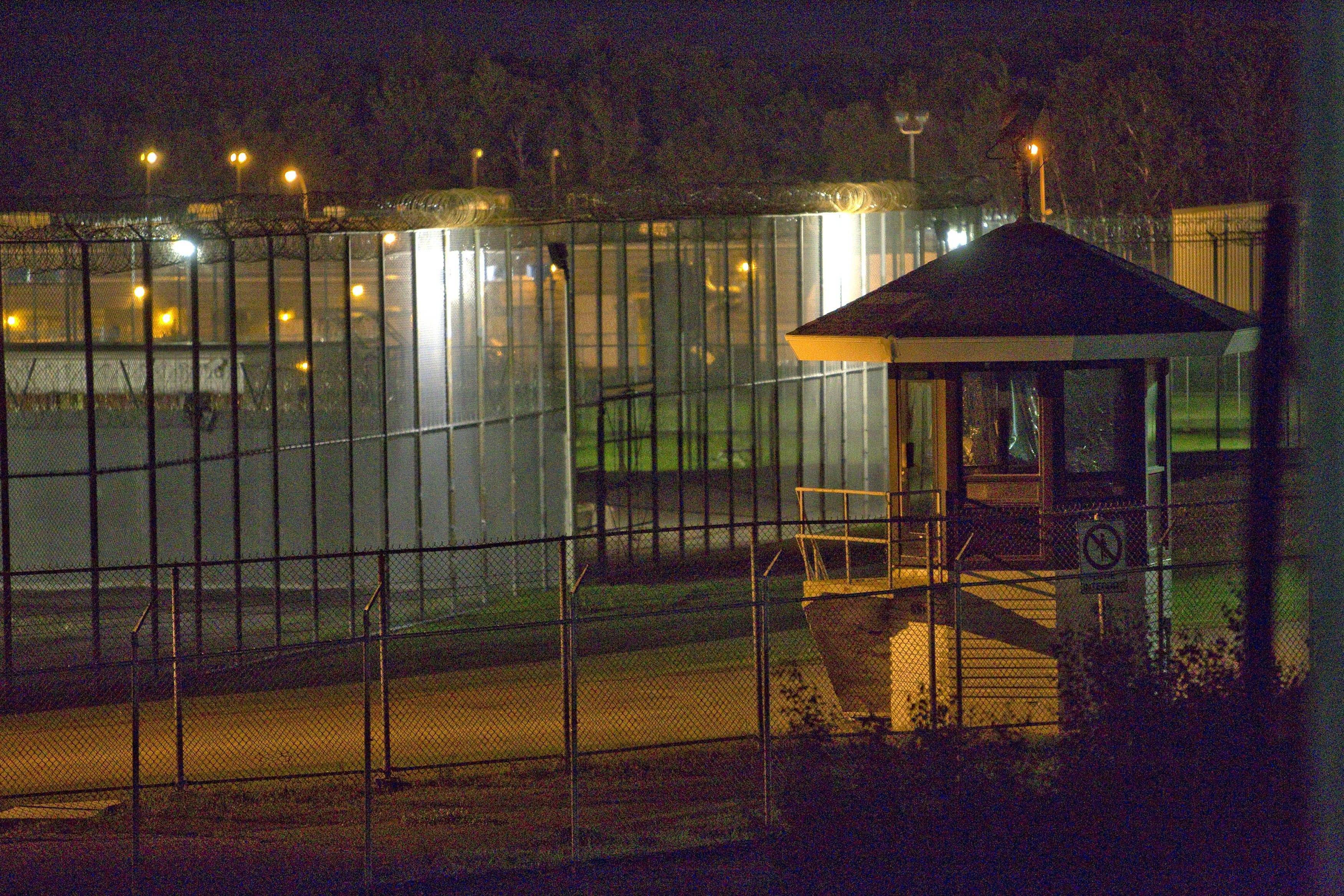 The prison yard in front of the Orsainville Detention Center is seen near Quebec City on Saturday. Three inmates have escaped from the center with the help of a helicopter, police said late Saturday.
