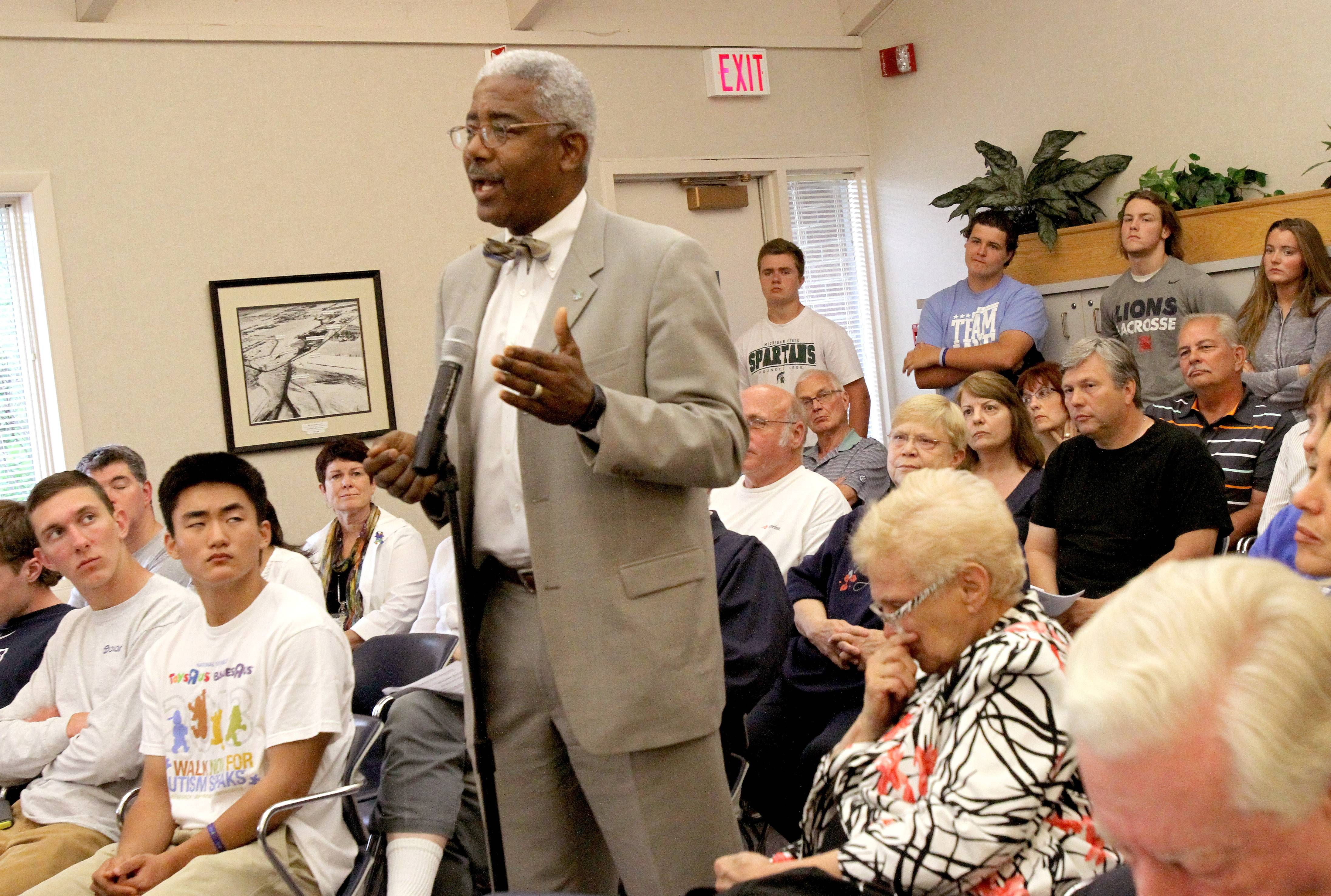 Shawn Jeffers, executive director of Little City, speaks to the Bloomingdale village board during its meeting Monday. Little City withdrew its application to create a group home at 116 Greenway Drive in Bloomingdale.