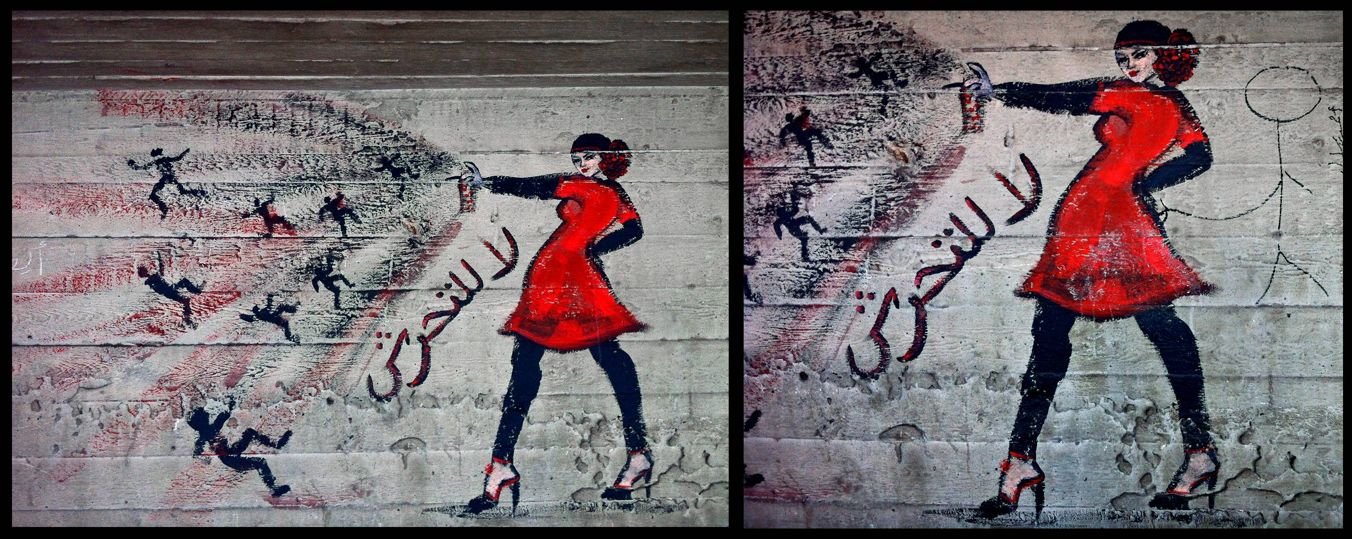 "This combination of two photos shows graffiti of a woman with the words ""no harassment,"" in Arabic, taken on June 23, 2012, left, and the addition by another artist, on Nov. 6, 2012 of a stick figure touching her backside, under a bridge in the upscale Zamalek neighborhood in Cairo, Egypt. Egyptian police on Monday, June 9, 2014 arrested seven men for sexually assaulting a 19-year-old student during celebrations marking the inauguration of the country's new president in Cairo's central Tahrir Square the day before, security officials said."