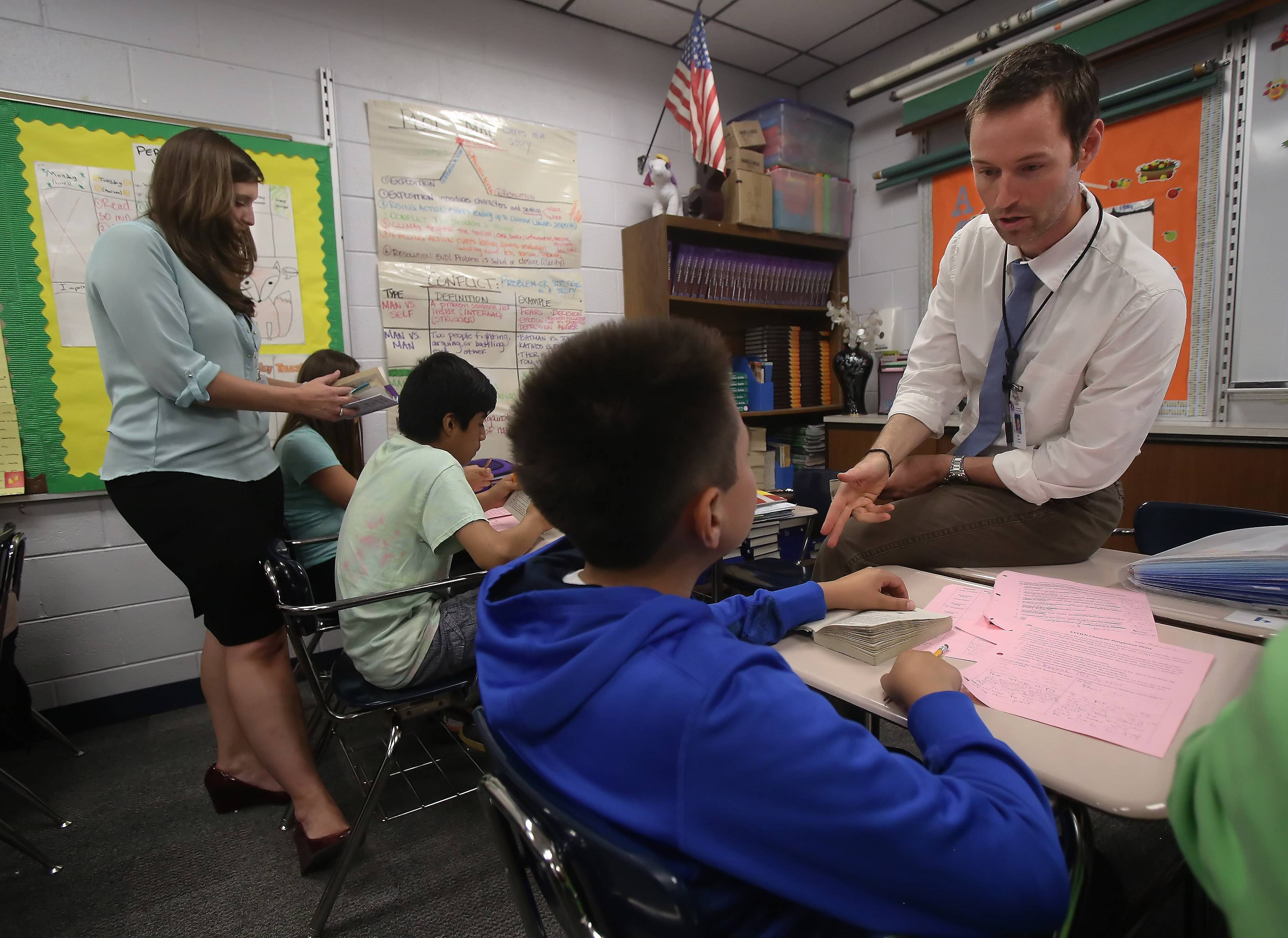 Natalie Saia and Tony Leva team up to teach seventh-grade language arts at Walter Sundling Junior High in Palatine.