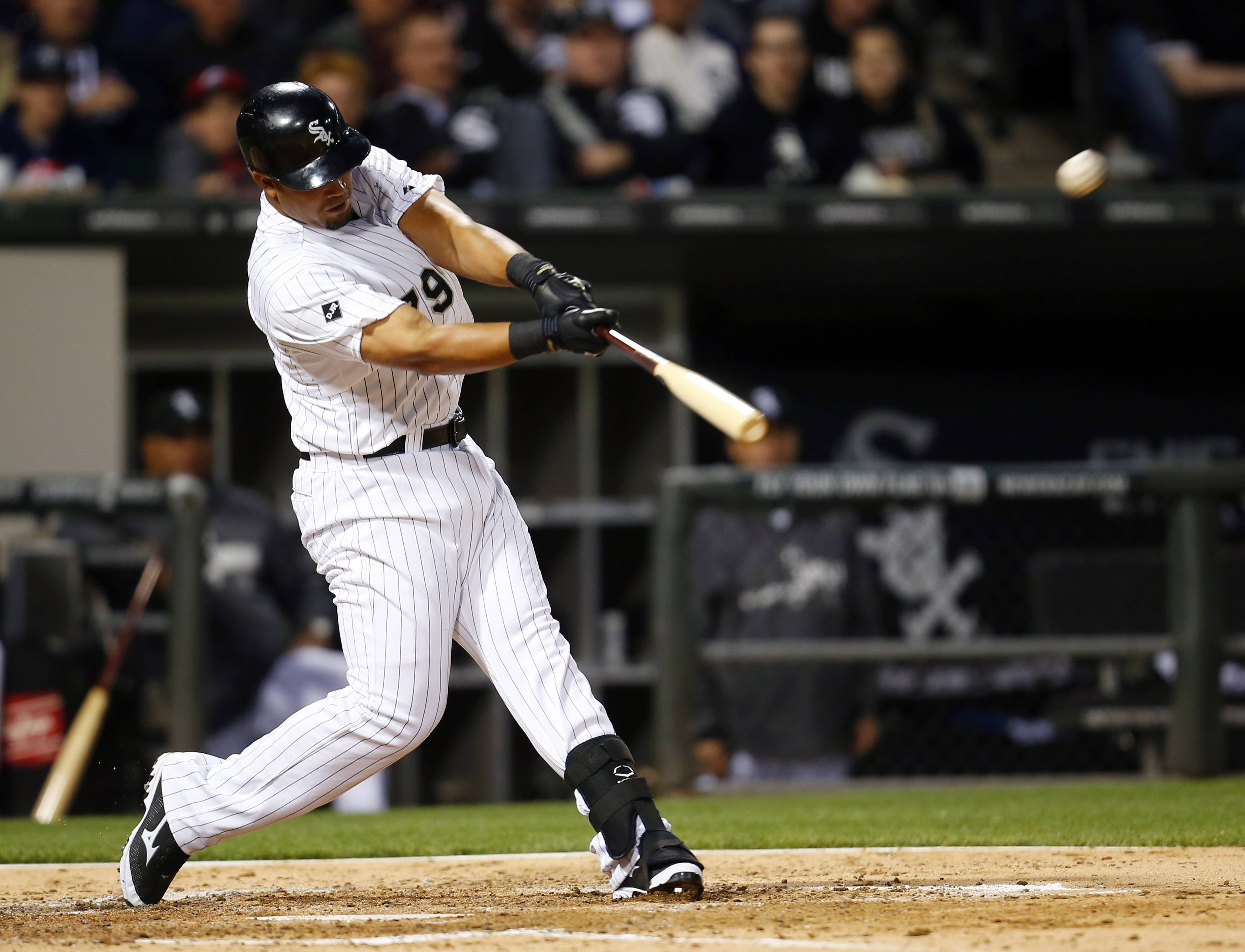 White Sox first baseman Jose Abreu hits a two-run home run against the Detroit Tigers during the fifth inning of Monday's home game.