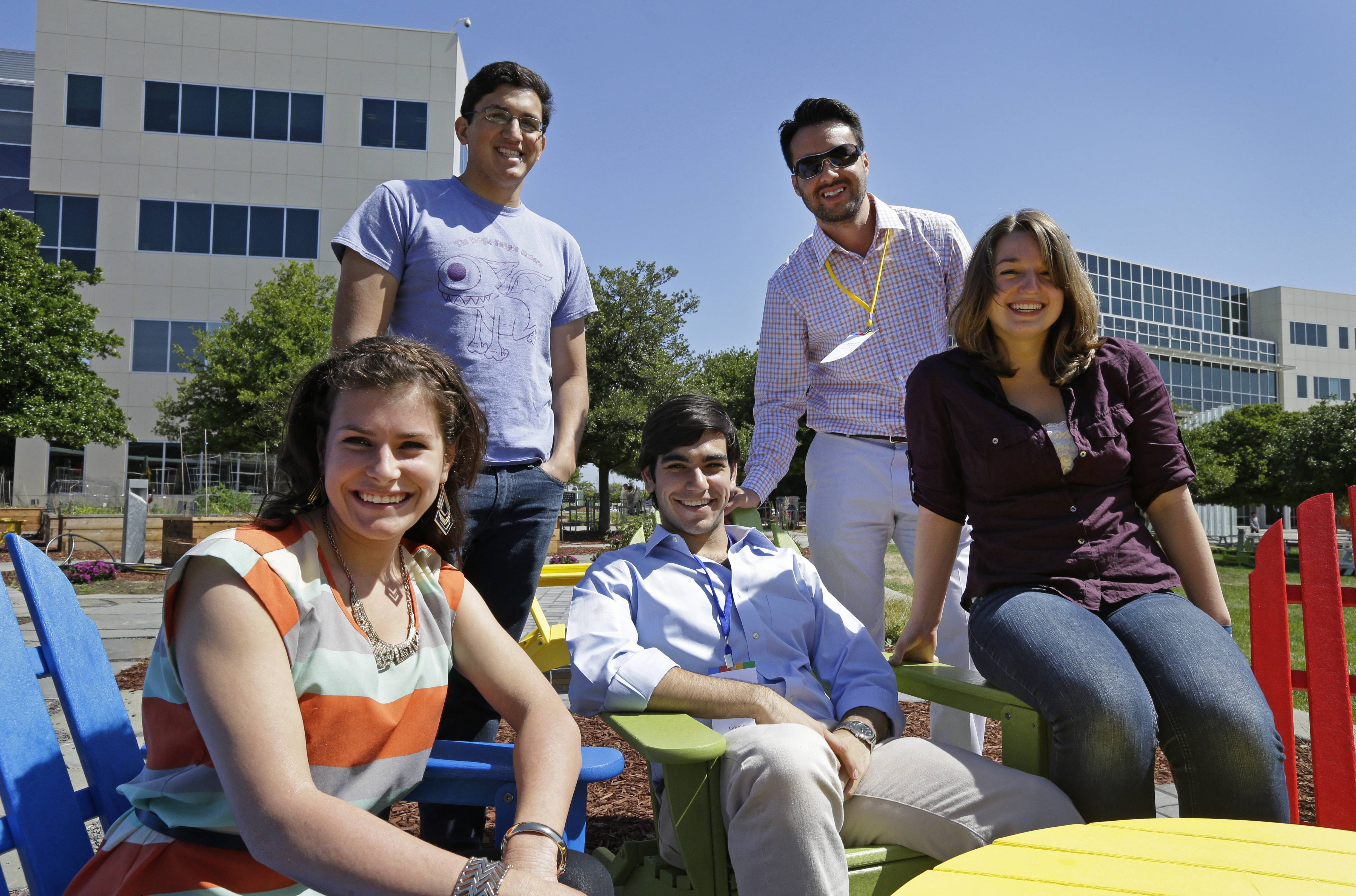 Google interns, from left, Rita DeRaedt, Alfredo Salinas, Alex Rodrigues, Steve Weddler, and Lizzy Burl on the Google campus in Mountain View, Calif.