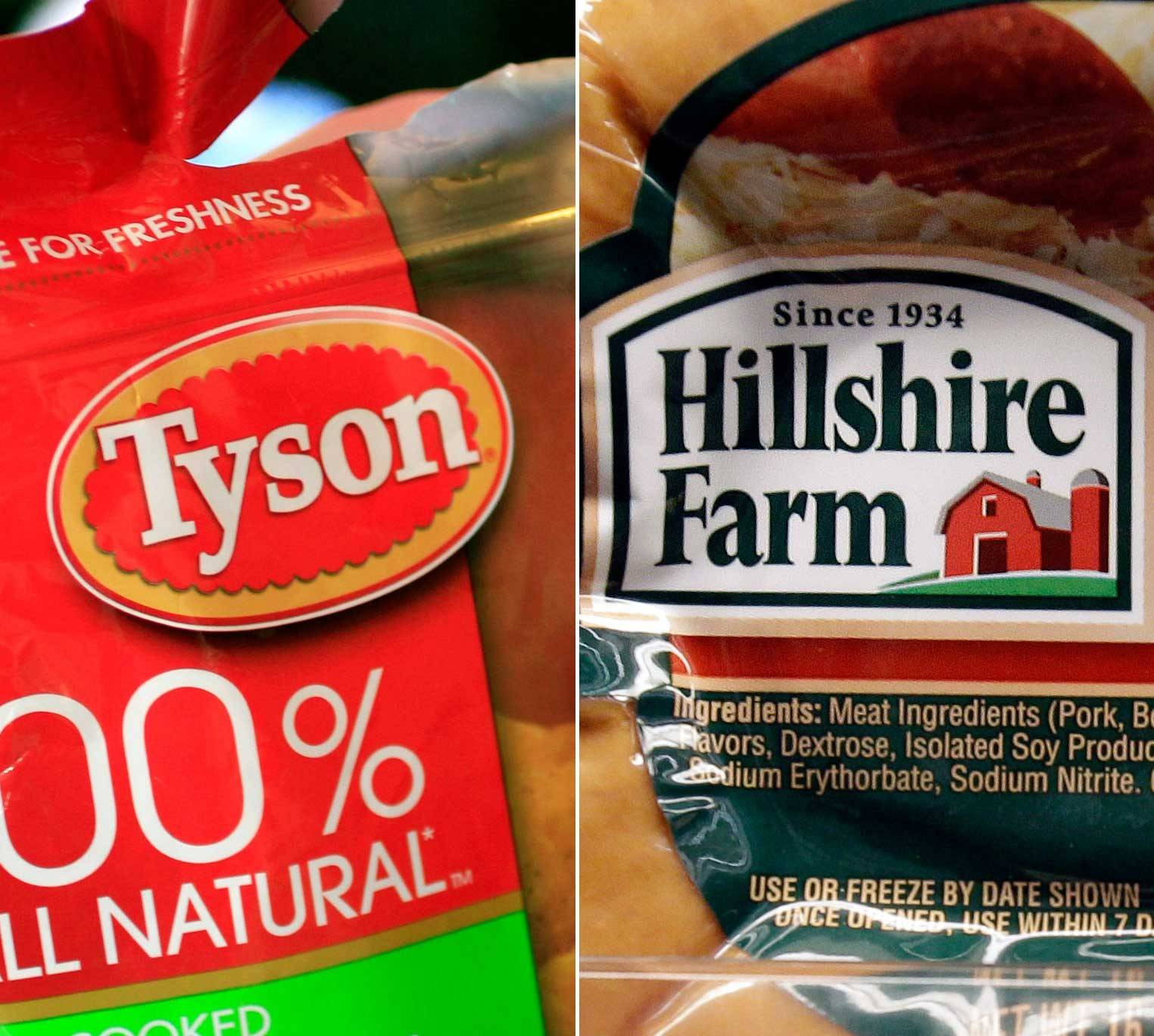 Tyson Foods Inc., the largest U.S. meat company, agreed to buy Chicago-based Hillshire Brands Co. for about $7.7 billion after outbidding Pilgrim's Pride Corp. to gain control of the maker of Jimmy Dean sausages and Ball Park hot dogs.