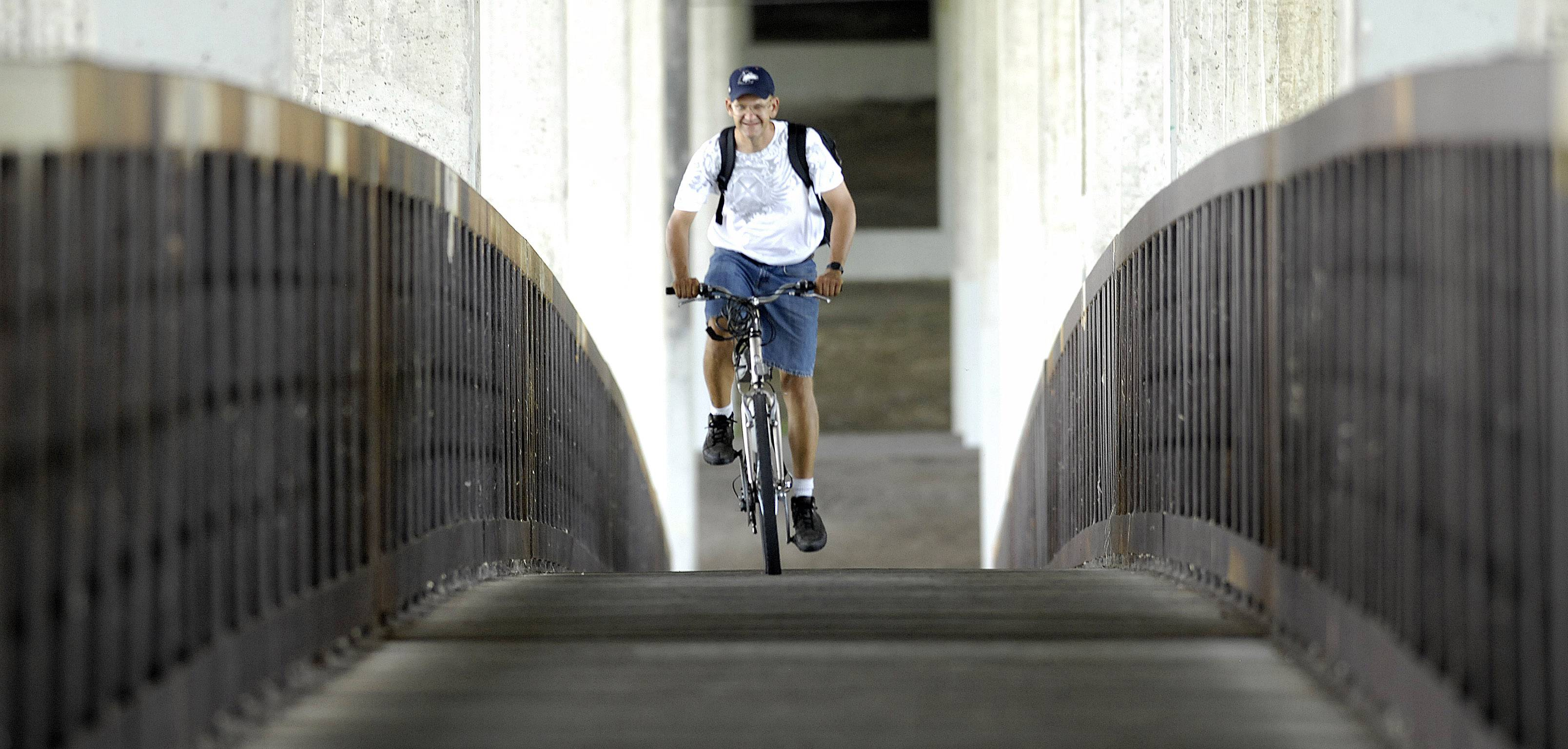 John Starks/Daily Herald, August 2011The bridge used by pedestrians and cyclists under the tollway's I-90 Fox River bridge is closing in June.