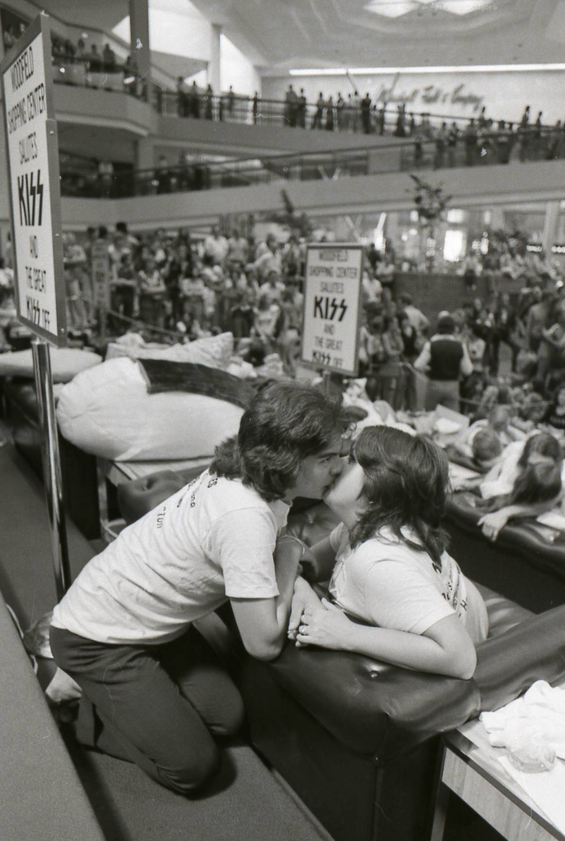 "An apparently intimate moment is witnessed by thousands during ""The Great Kiss Off"" kissing contest at Woodfield Mall in Schaumburg in June 1974."