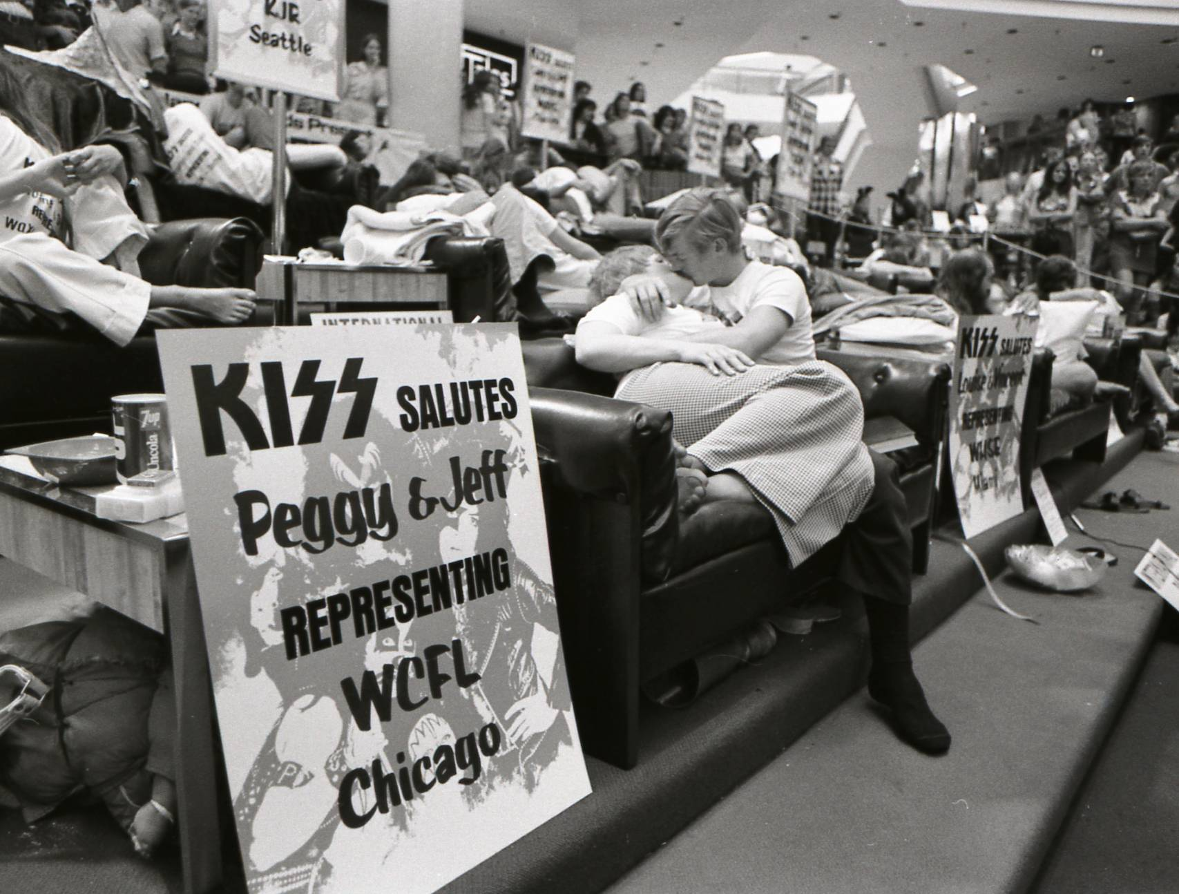 "Eleven couples from across the nation won radio station promotions to represent their regions in ""The Great Kiss Off"" finale at Woodfield Mall in Schaumburg in June 1974."